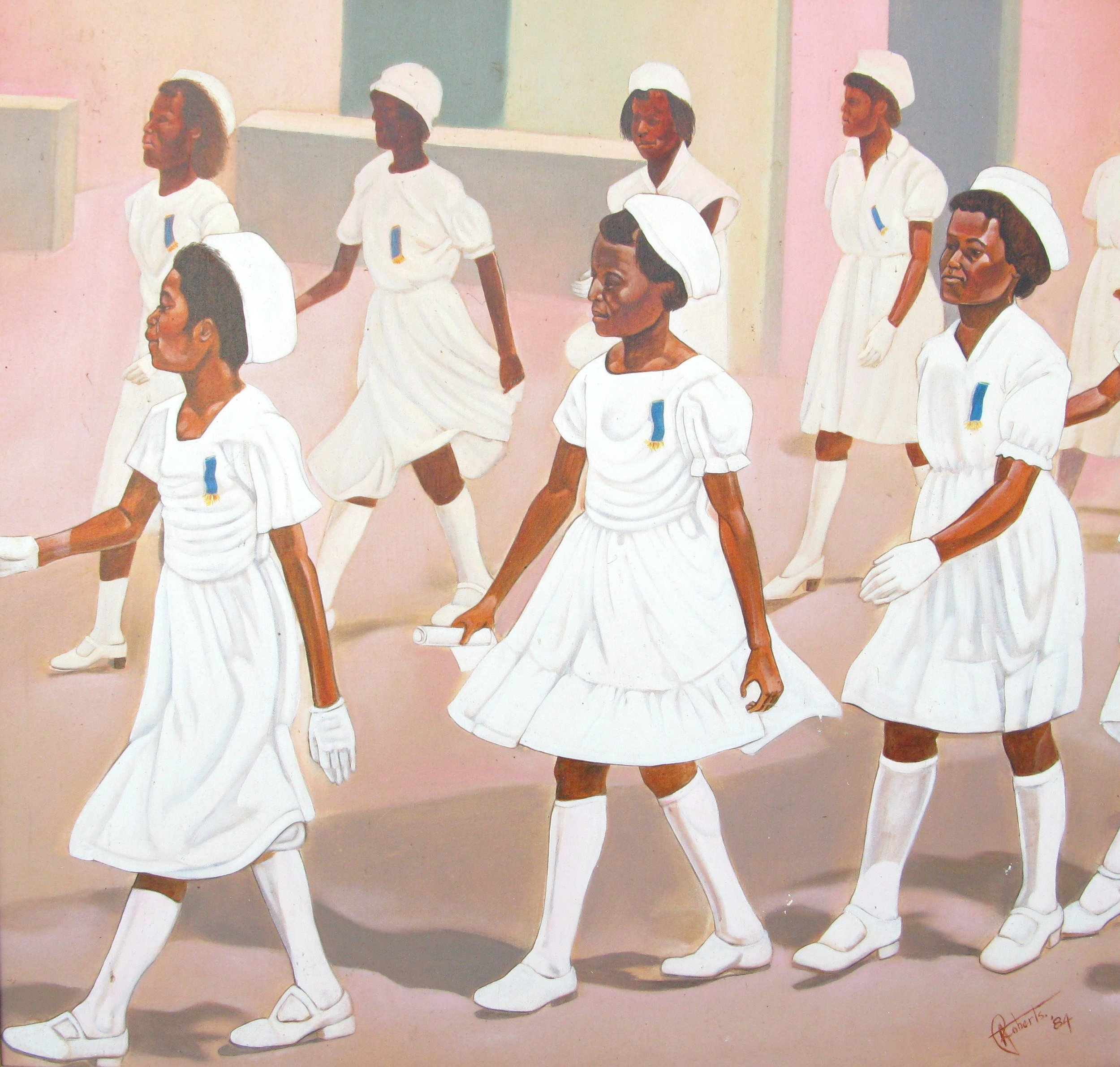 Antonius Roberts.  Procession of Females in White Uniforms,  1984, Oil on canvas, 41 x 43 in. This image is a part of the NAGB National Collection.