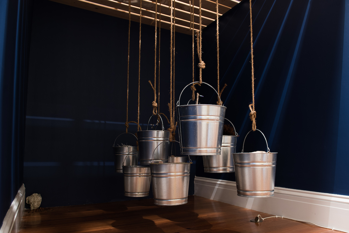 """Margot Bethel. """"Portal: There's a WHole in the Bucket,"""" 2016. Installation. Images courtesy of Dante Carrer."""