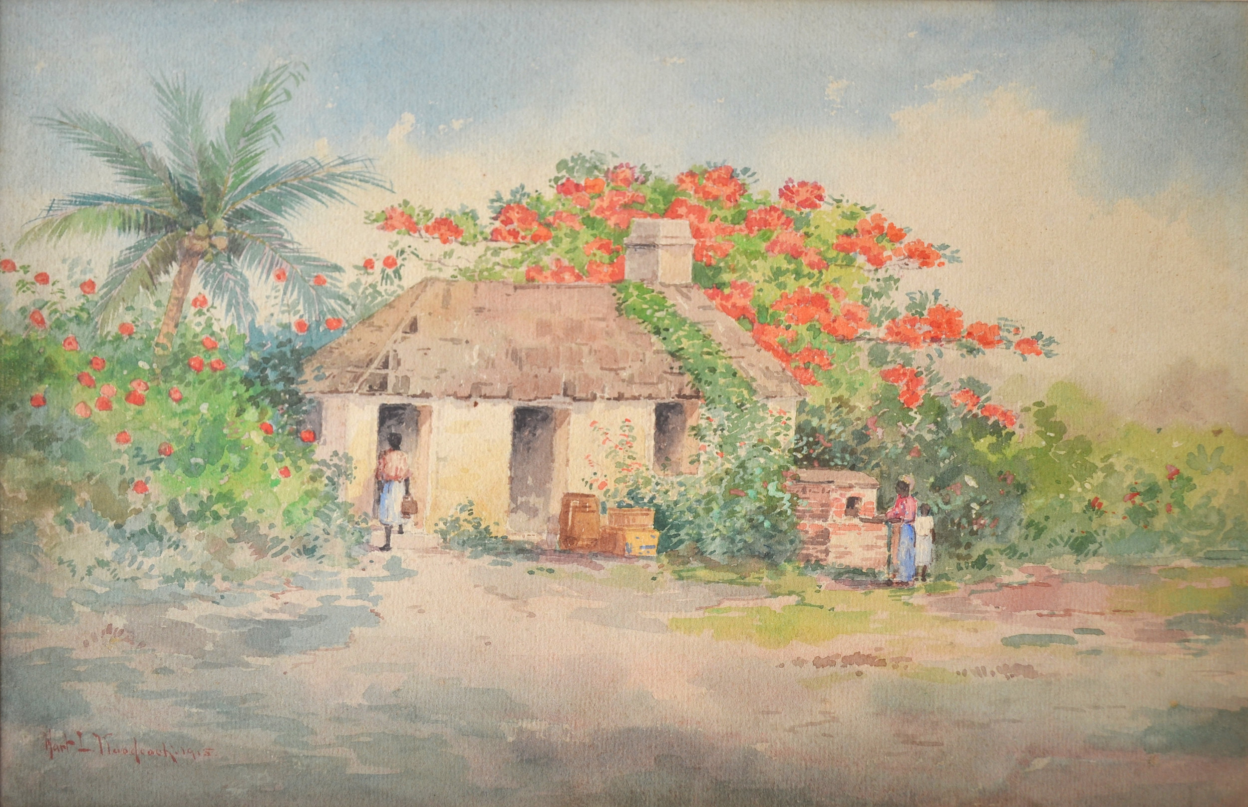 """""""Native Hut"""" (1915), Hartwell Leon Woodcock,watercolour on paper, 10 x 13 1/2. Part of the National Collection.Image courtesy of the NAGB."""