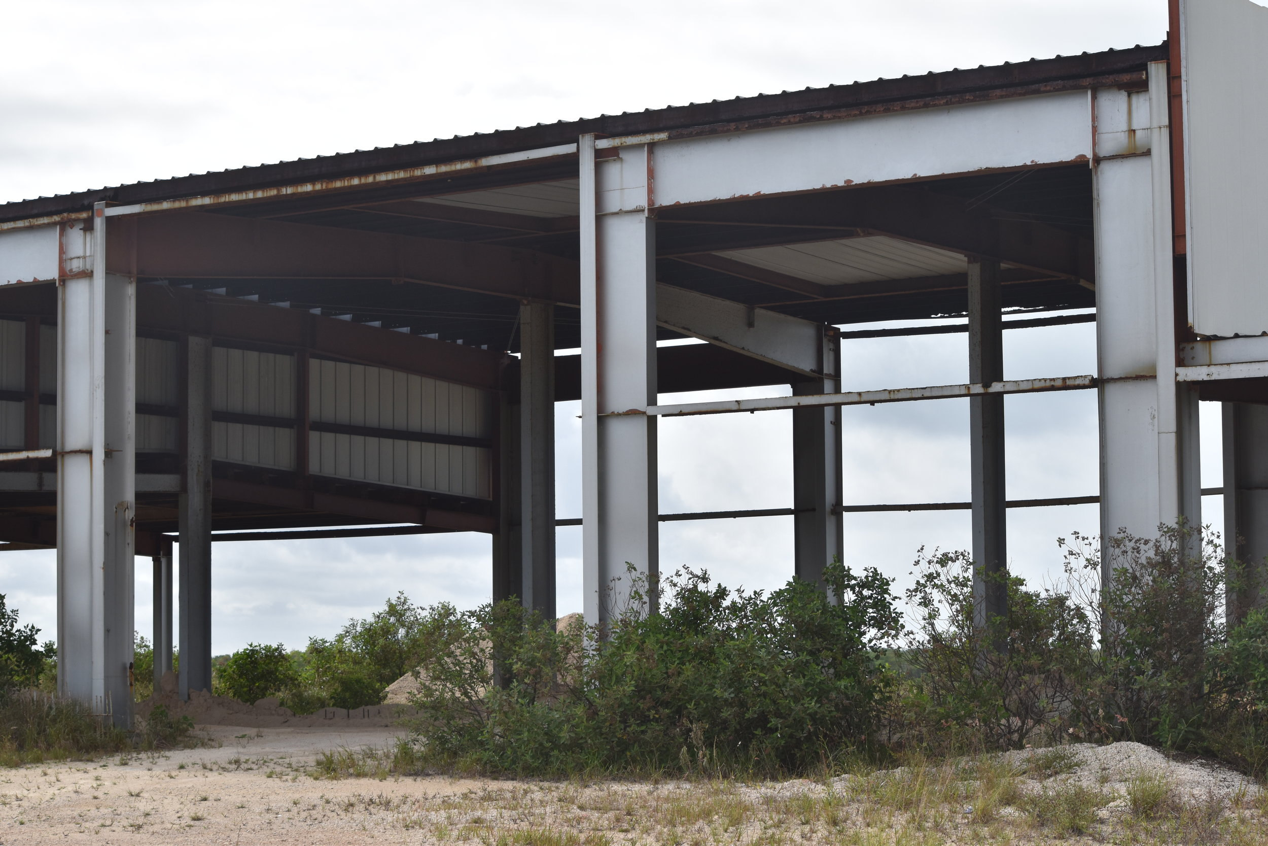 The 'New Airport', Mayaguana. The construction stands in ruins.