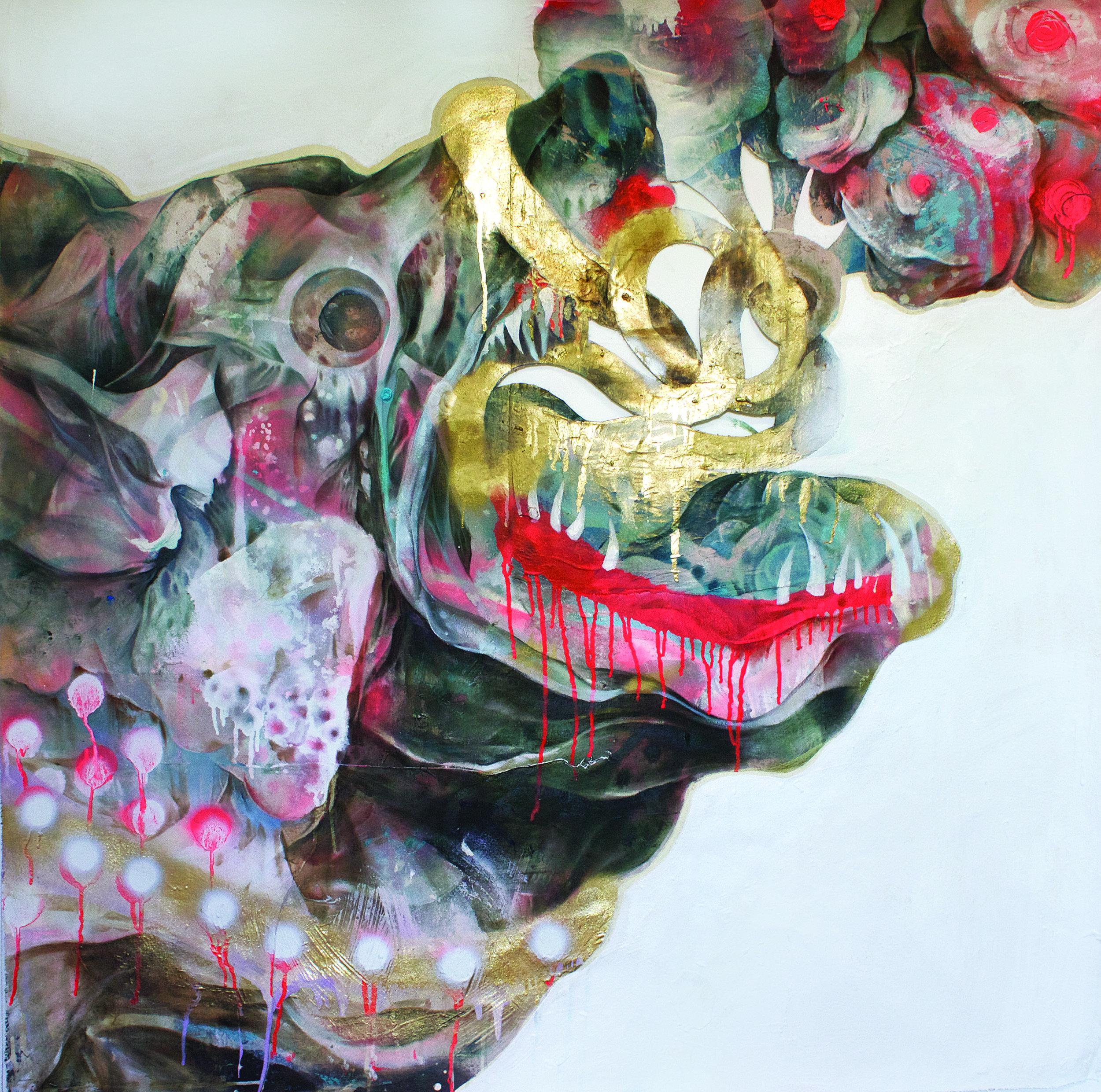 """Dog Bark Break The Night"", (48"" x 48"") by Lavar Munroe, acrylic, spray paint and found fabric on canvas. 2017  (Image courtesy of artist)"