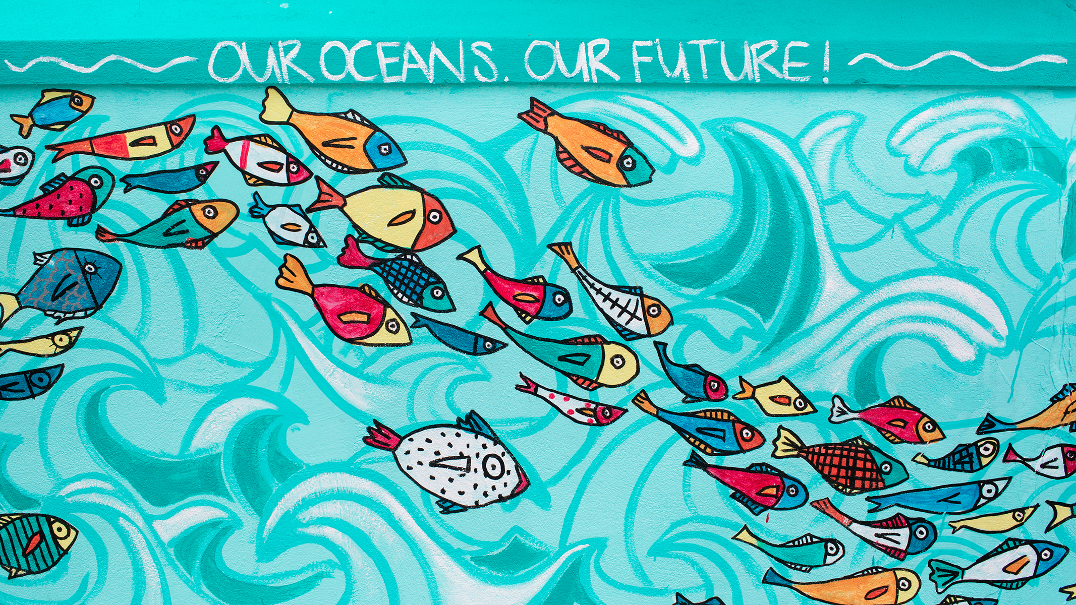 Dede Brown and Dylan Rapillard's 'World Oceans Day 2017' mural on West Hill Street, commissioned by the National Art Gallery of the Bahamas, Sandals Royal Bahamian, and the Sandals Foundation.