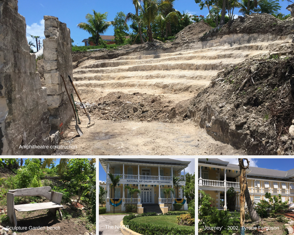 Collage of developments at the NAGB including the Amphitheatre construction, our Sculpture Garden artwork and historic Villa Doyle in all her Independence glory. Images courtesy of the NAGB