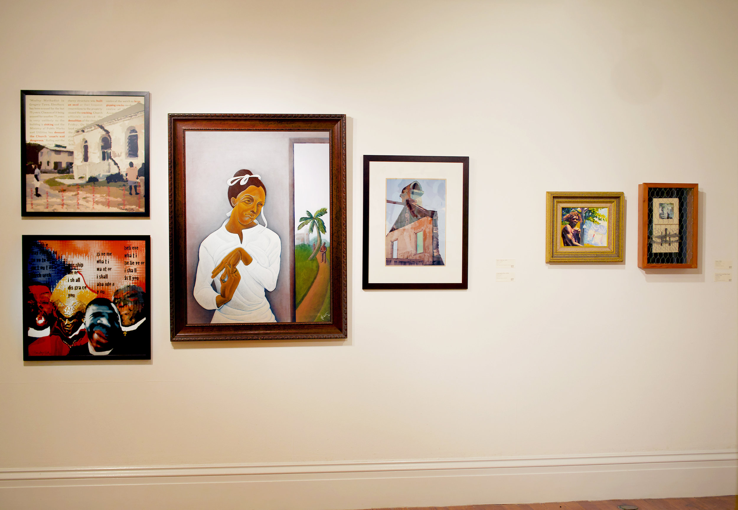 """Installation view of """"Built on Sand"""" (2003) by Dionne Benjamin Smith. Part of the National Collection."""
