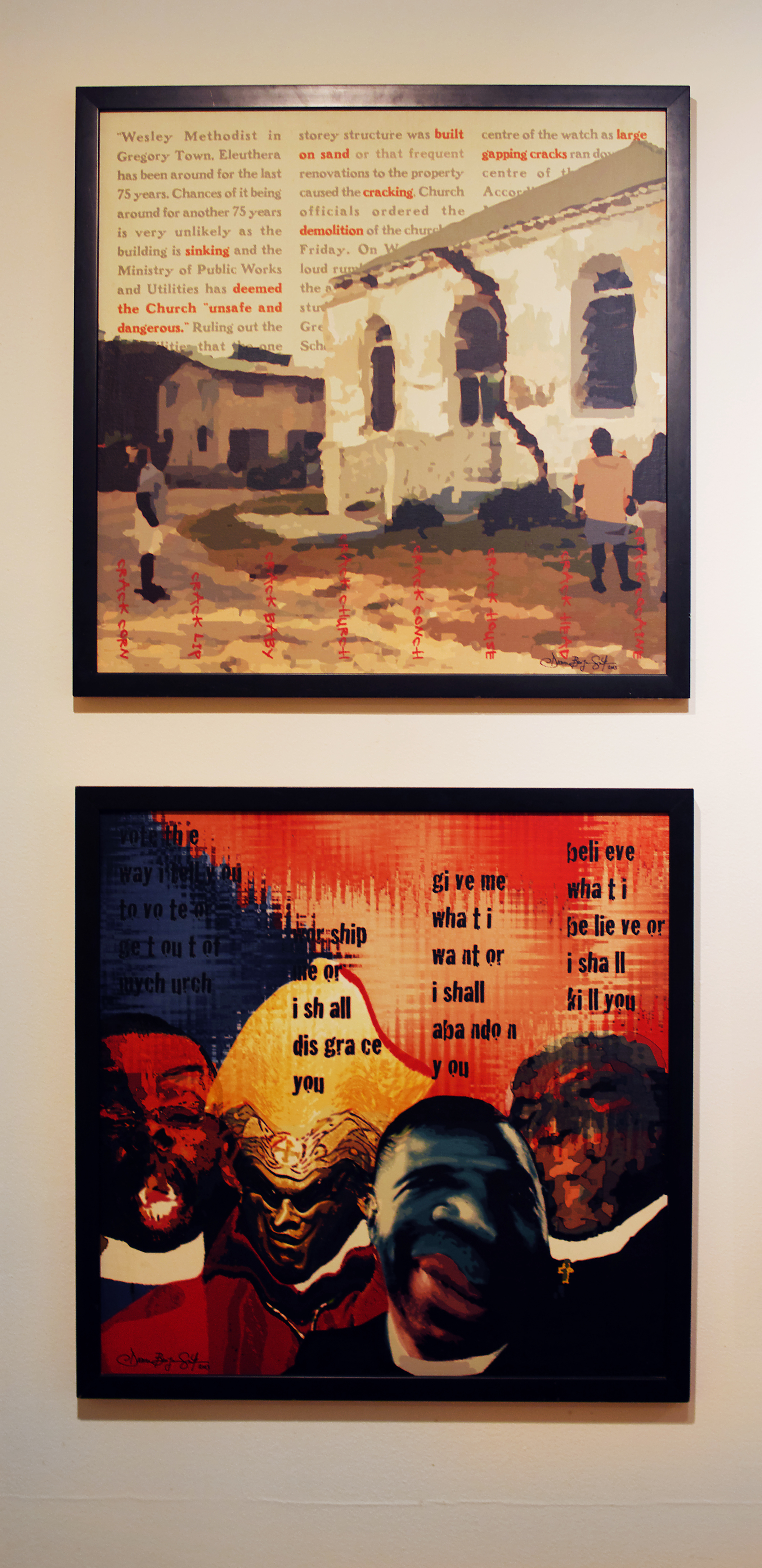 """Installation view of """"Built on Sand"""" (2003) and """"Bishops, bishops everywhere and not a drop to drink"""" (2003) by Dionne Benjamin Smith. Part of the National Collection."""