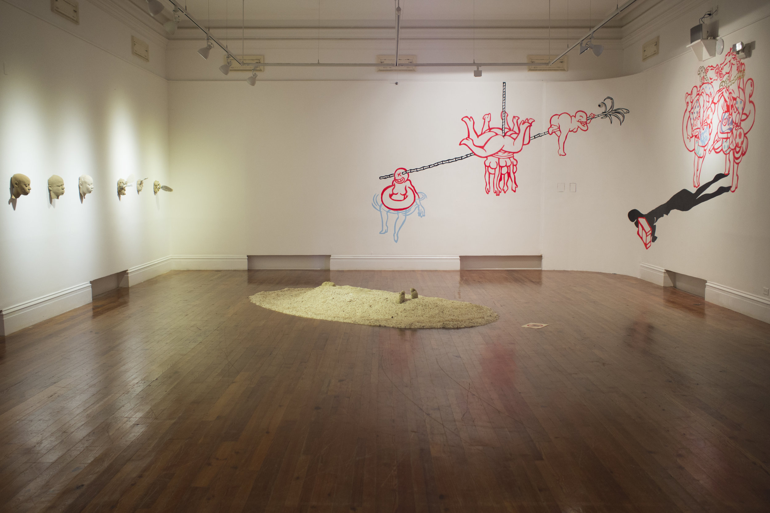 """Install shot of Edrin Symonette's """"Island Life: The Ballad of Deangelo Johnson for Quakoo Street"""" as a part of Double Dutch, """"Of Skin and Sand"""" on view through September 24th at the NAGB."""