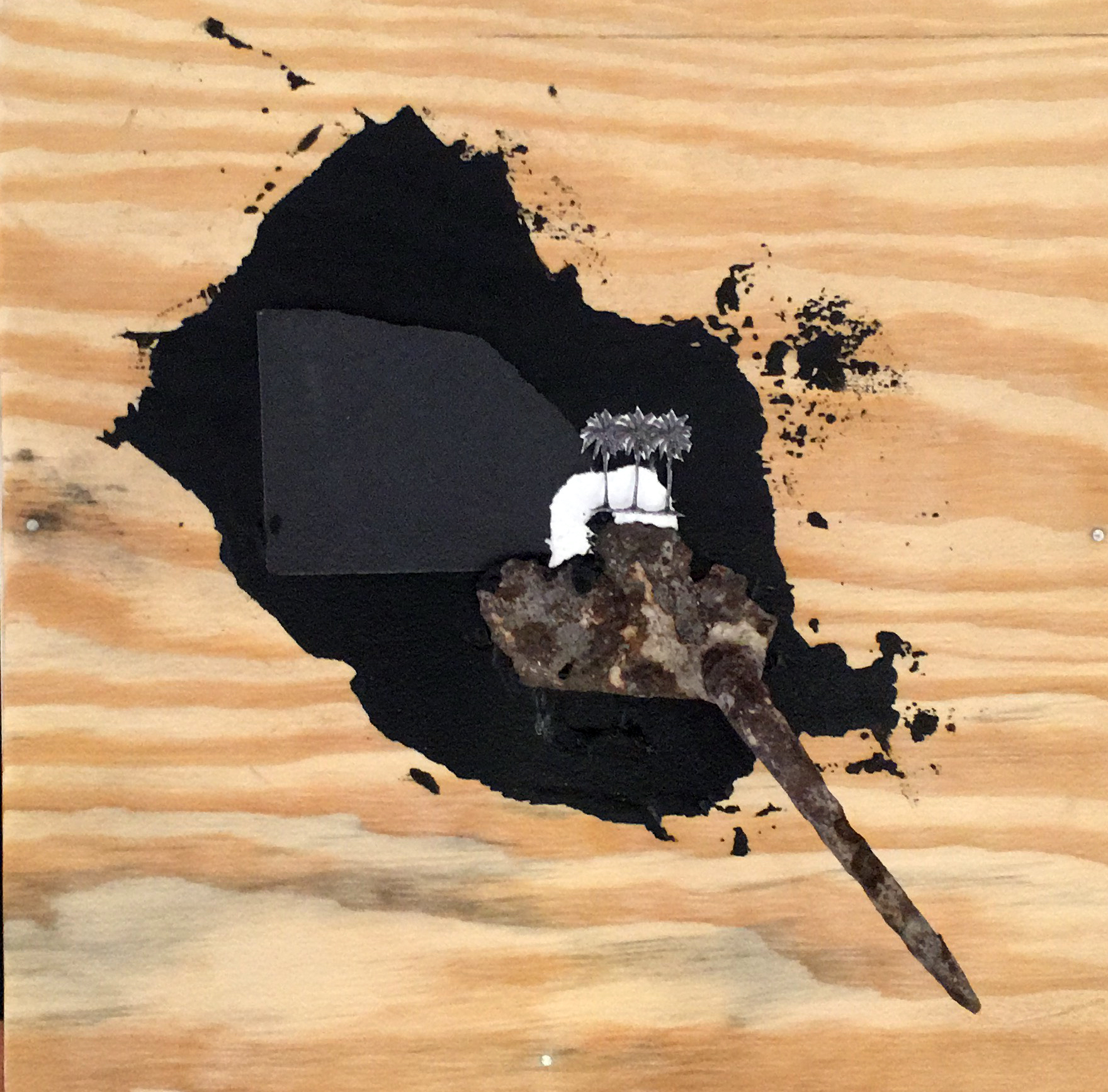 """Black Paradise"" (2017), Jodi Minnis, found object and image with acrylic paint, 11"" x 11""."
