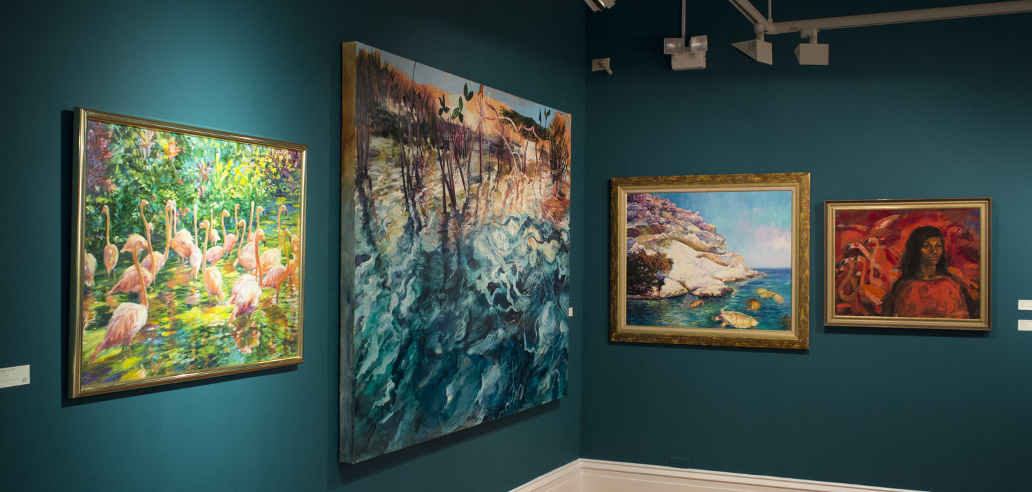 """Installation view of """"Woman With Flamingoes"""" (1996-97) by R Brent Malone as seen in the current Permanent Exhibition, """"Revisiting An Eye For the Tropics"""", on view through March 2018."""