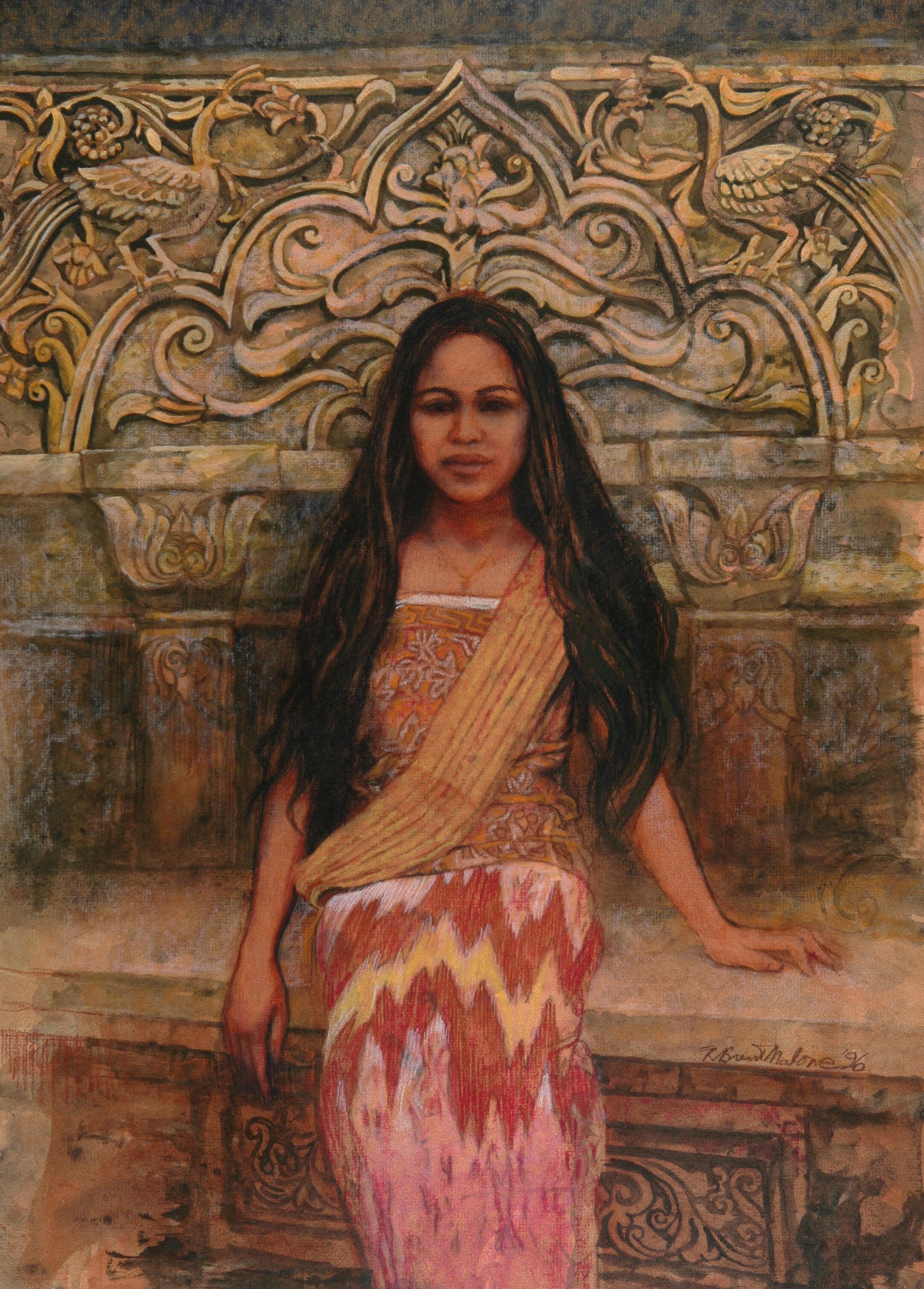 """""""Bali Girl with Scarf"""" (1996), R. Brent Malone, watercolour on paper, 29 ½ x 21. Part of the Dawn Davies Collection."""