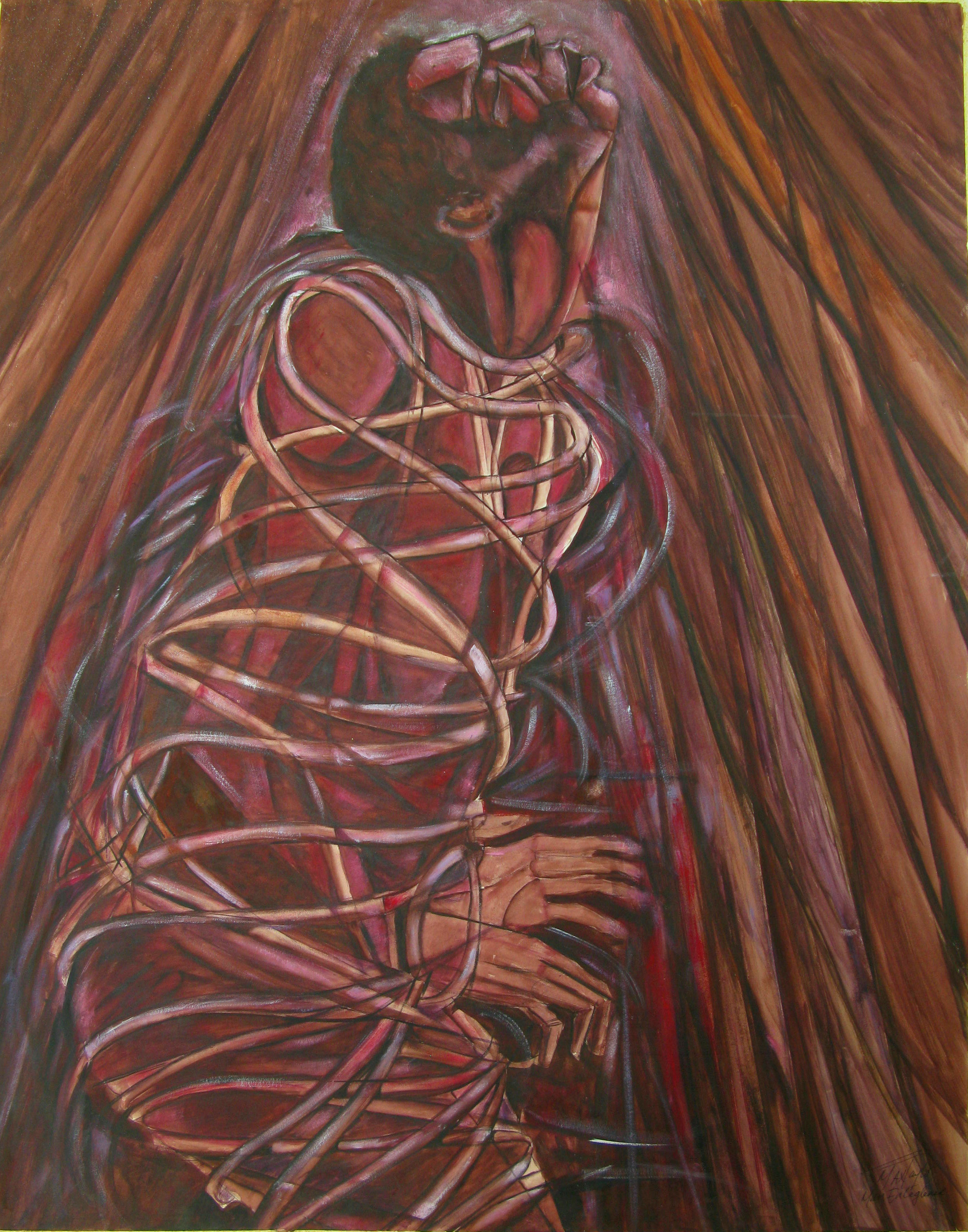"""Man Entangled"" (1990), Maxwell Taylor, acrylic on paper, 28 x 22. Part of the National Collection."