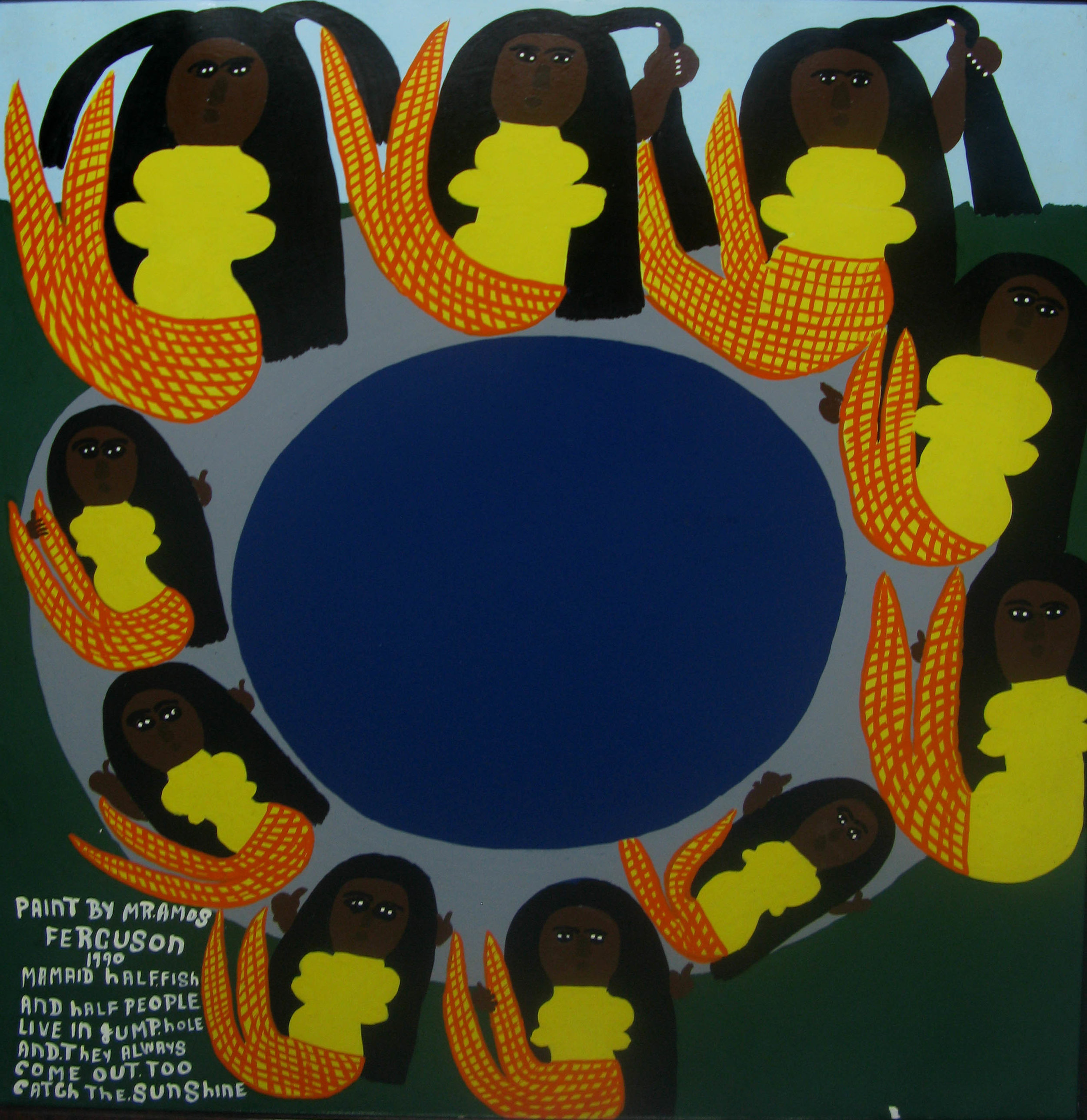 """Mamaid Half Fish And Half People Live in Sump Hole And They Always Come Out Too Catch The Sunshine"" (1990), Amos Ferguson, house paint on board, 36 x 30. Part of the National Collection, donated by the Ministry of Tourism."