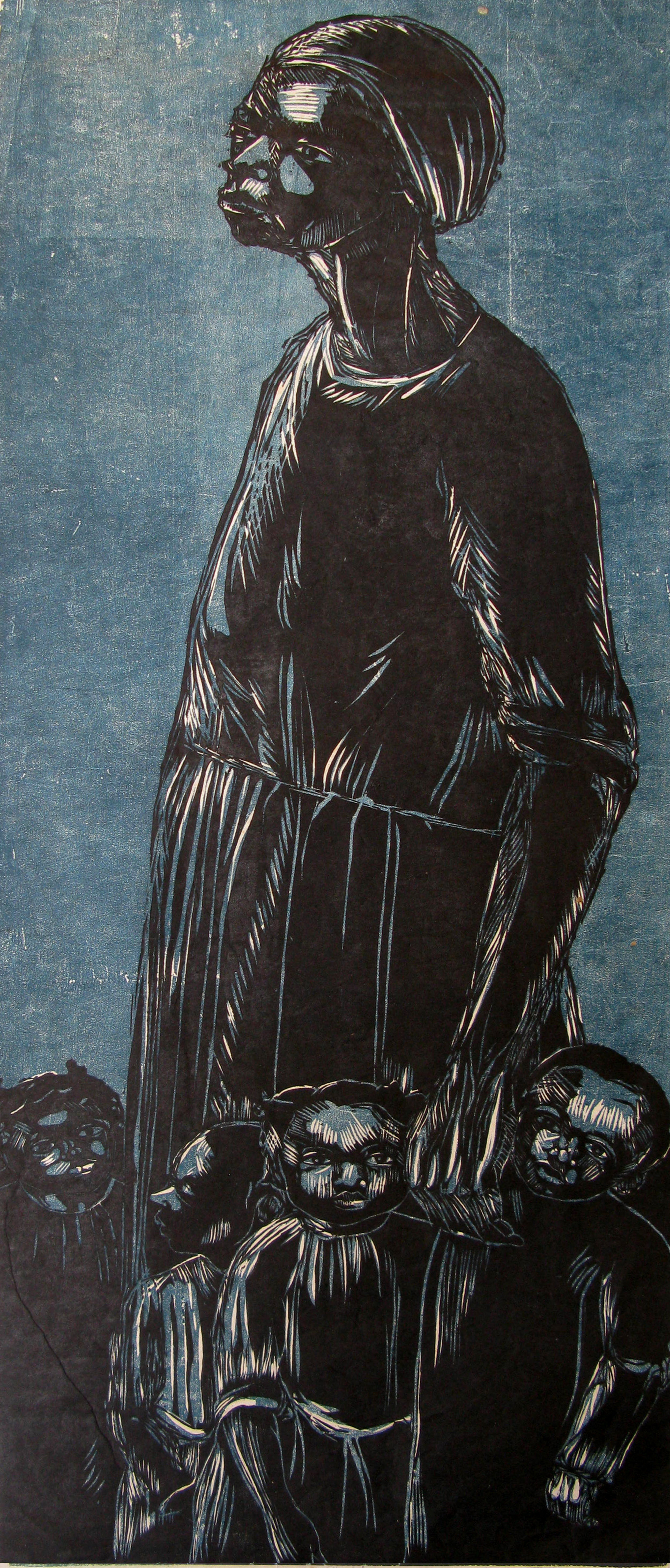"""Woman And Children"" (1972), Maxwell Taylor, woodcut print on paper, 35 x 14. Part of the National Collection."