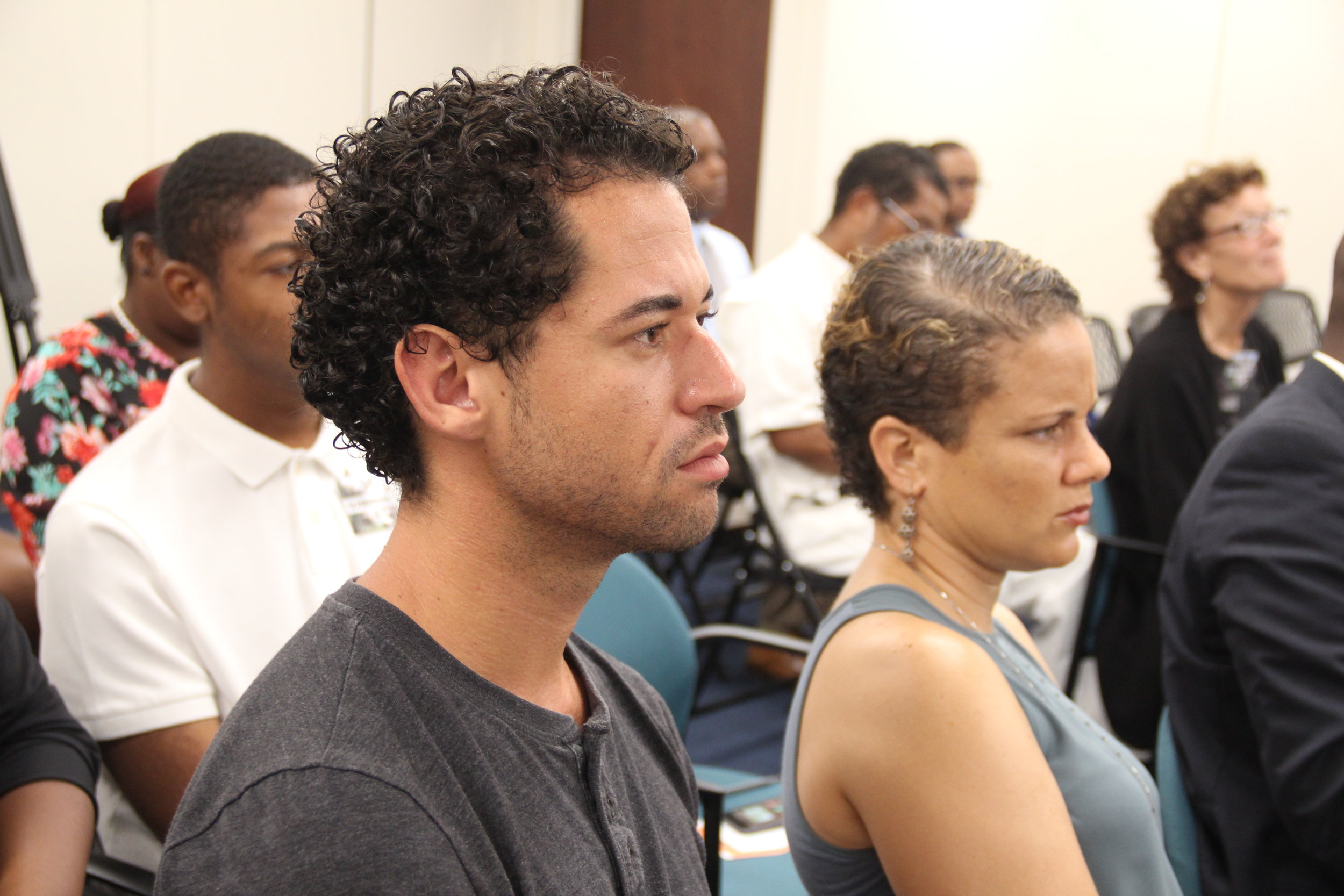 Attendees Alistair Stevenson and Katrina Cartwright at The Orange Economy Webinar produced by Creative Nassau in partnership with the Inter-American Development Bank and the Central Bank of The Bahamas. Image courtesy of Creative Nassau and Rosemary C. Hanna.