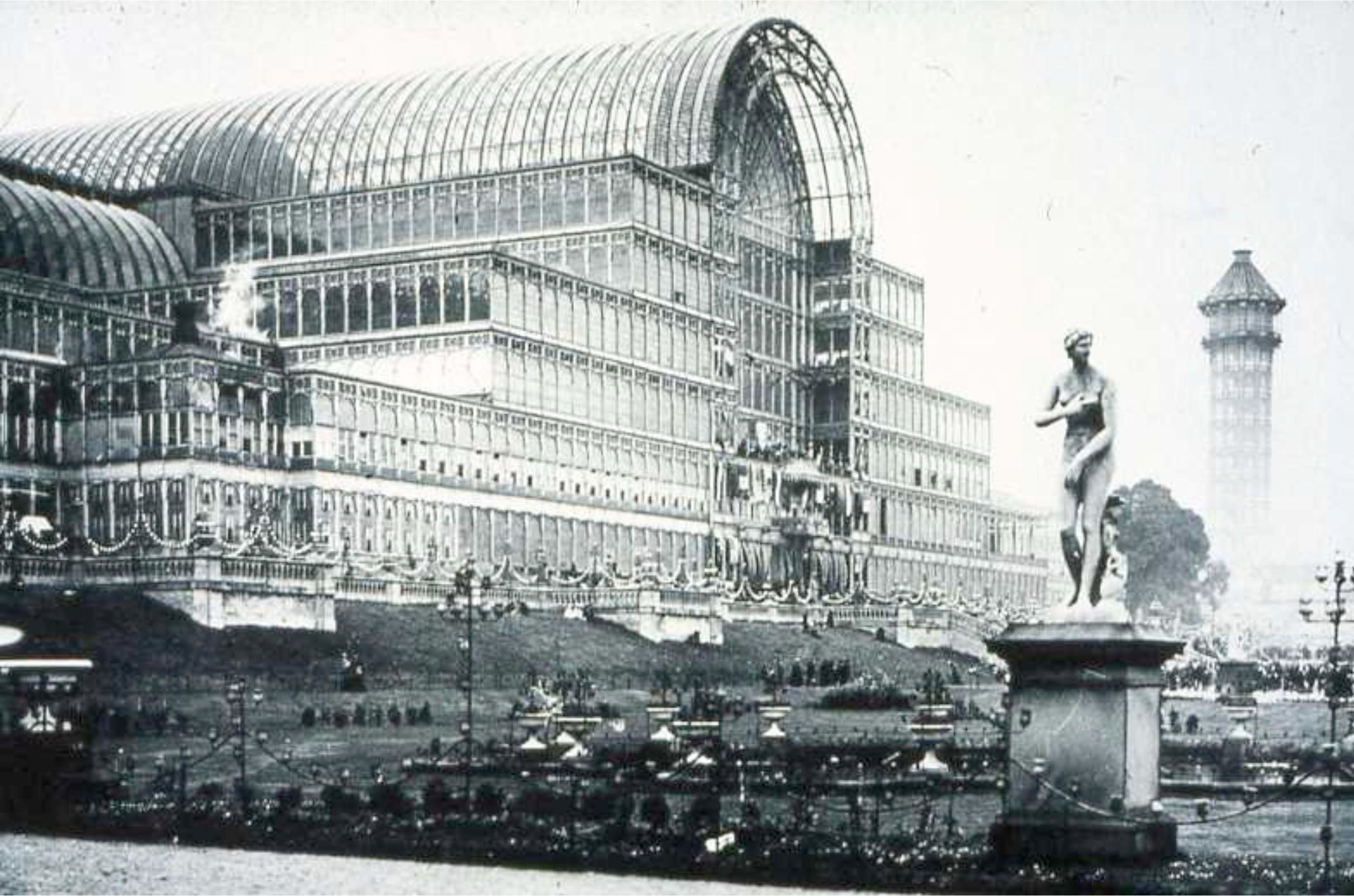 The Crystal Palace, London. The Crystal Palace was a cast-iron and plate-glass building originally erected in Hyde Park, London, England, to house the Great Exhibition of 1851.
