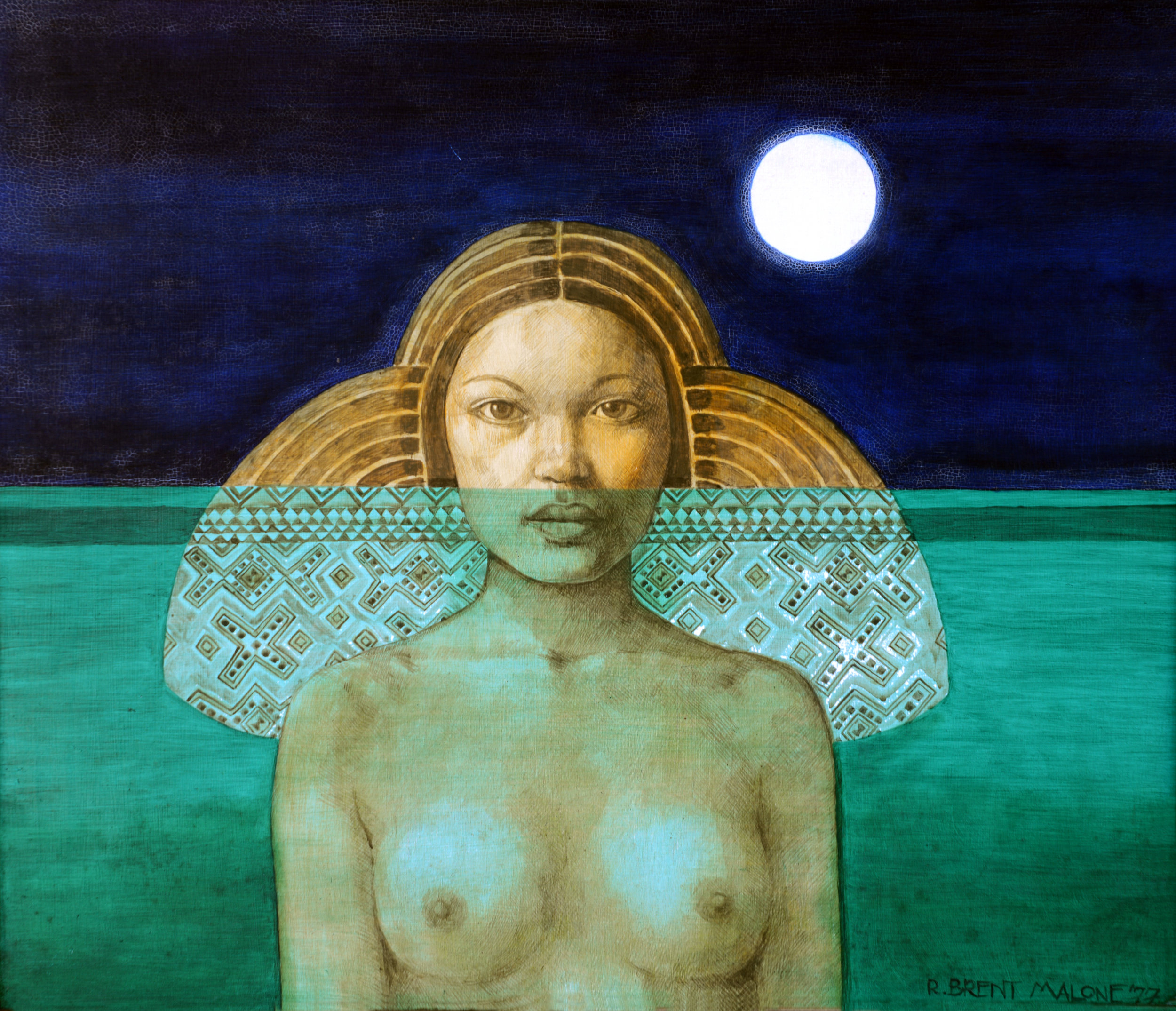 """""""Lucayan Princess"""" (1977), R Brent Malone, oil on canvas, 24 x 27. Part of the D'Aguilar Art Foundation (formerly in the collection of June Knight)."""
