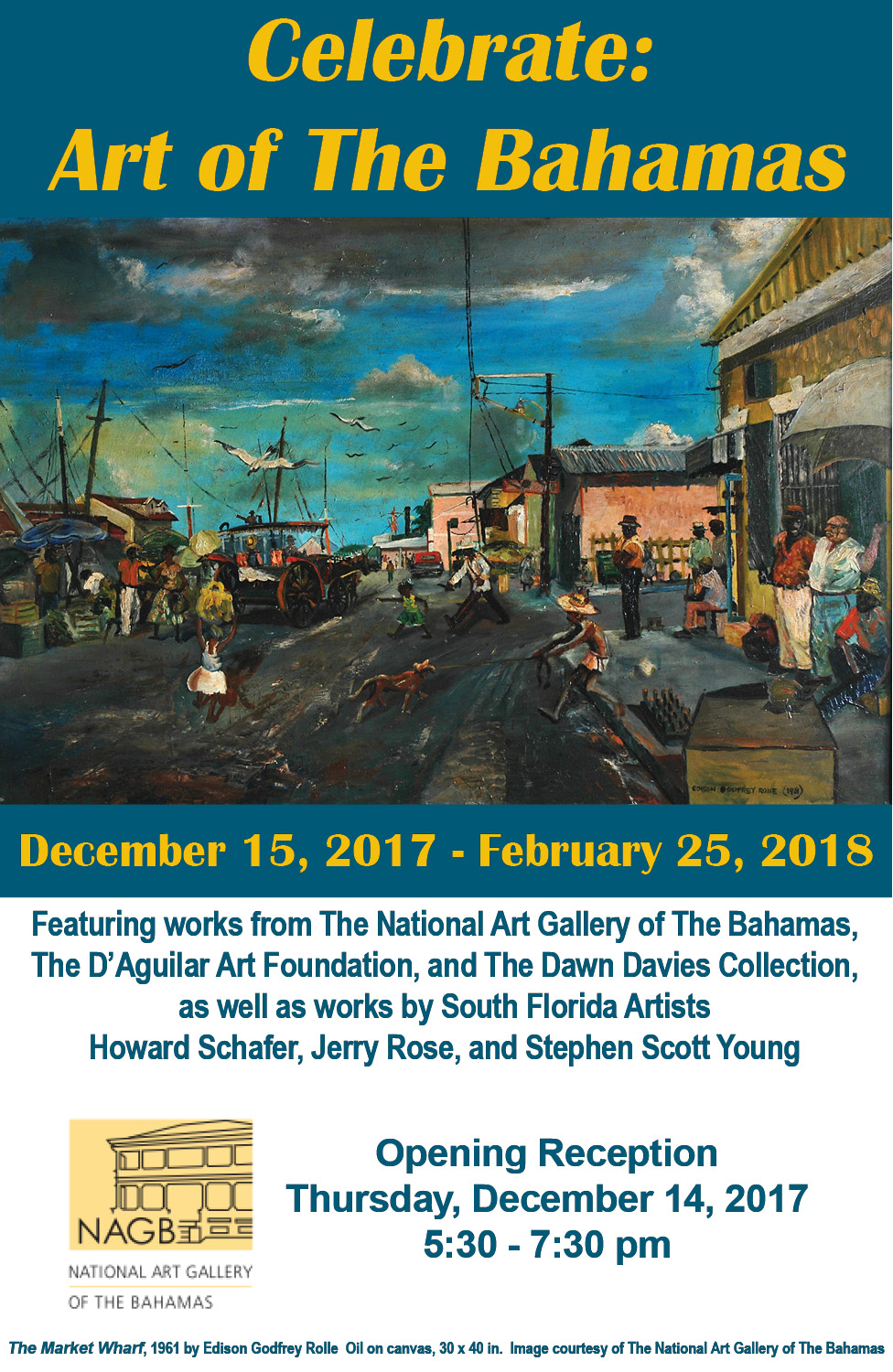 Edison Godfrey Rolle. Harbour Scene, 1960. Oil on canvas. 30 x 40 in. Image courtesy of The National Art Gallery of The Bahamas
