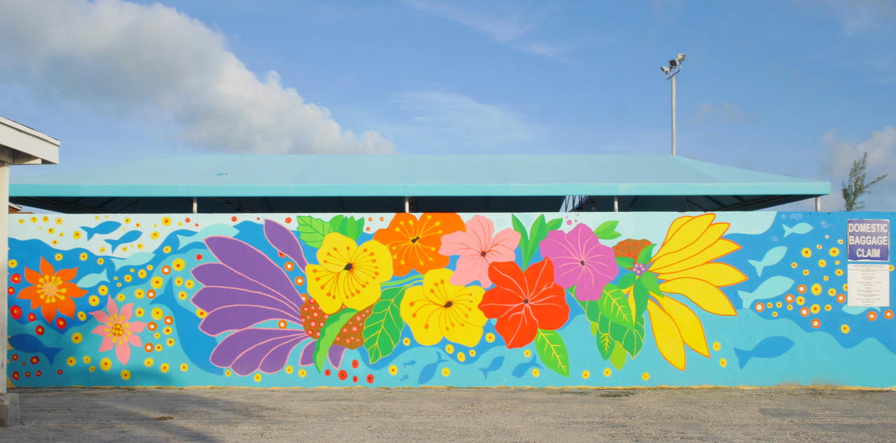 1. Completed mural at the Exuma International Airport