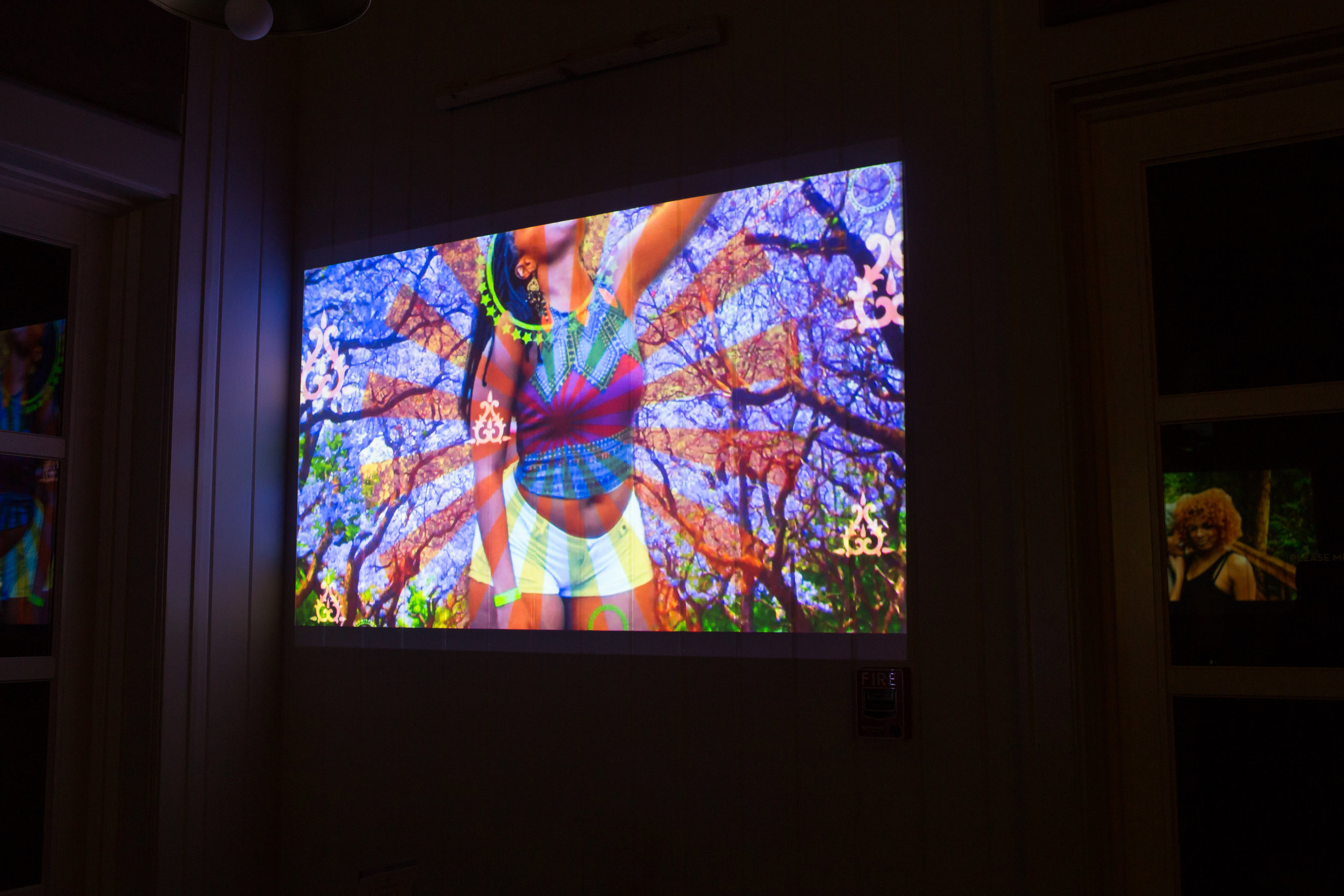 Spurgeonique Morley's recent GIF work projected in The Island House Cafe.