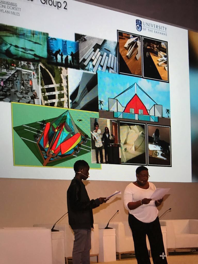 UB students presenting in Dubai for the development of Expo 2020. Image courtesy of Dr Ian Bethell Bennet