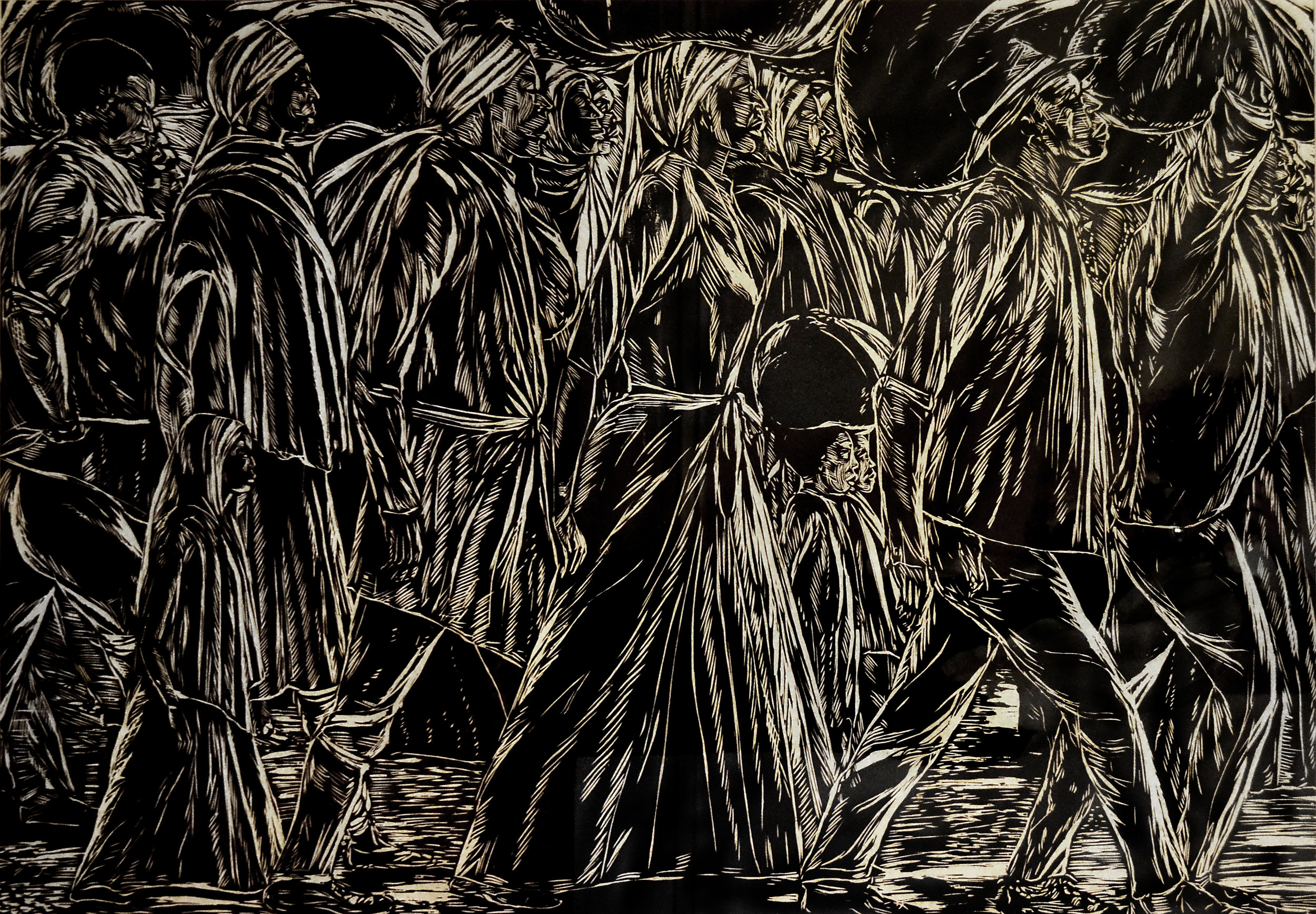 """""""The Immigrants No.3"""" (c1990), Maxwell Taylor, artist's proof woodcut print on paper, 32 x 48. Part of the National Collection."""