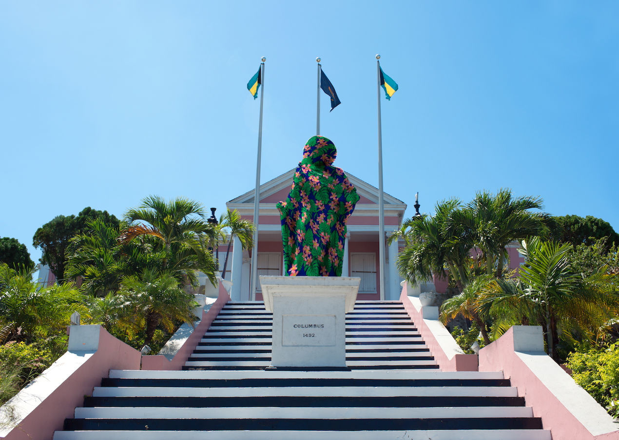 """"""" Proposal For Artistic Intervention on the Columbus Statue in Front of Government House, Nassau """" (2017), Joiri Minaya, postcard, 5x7."""