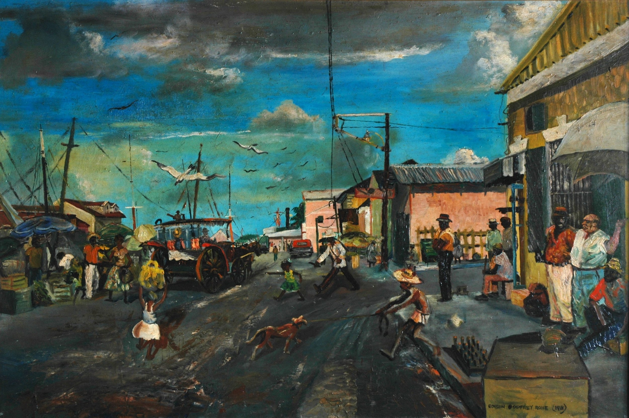 The Market Wharf by Edison Godfrey Rolfe, is part of the exhibit to come to the Elliott Museum, starting Dec. 15.(Photo: CONTRIBUTED BY NATIONAL ART GALLERY OF THE BAHAMAS)