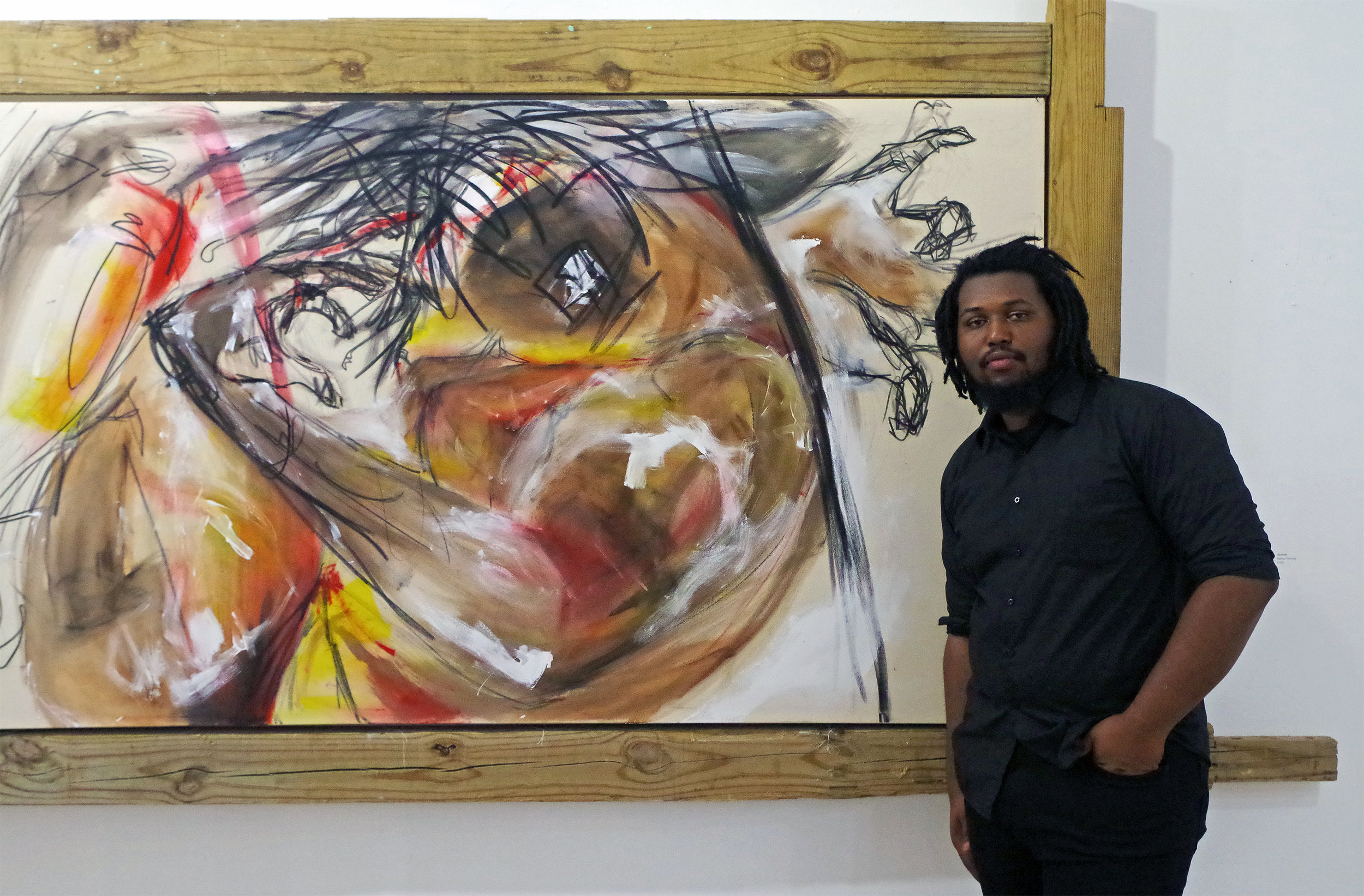 """Matthew Rahming. """"gambala"""", acrylic and charcoal on canvas. 2017. Images courtesy of the artist and Keisha Oliver."""