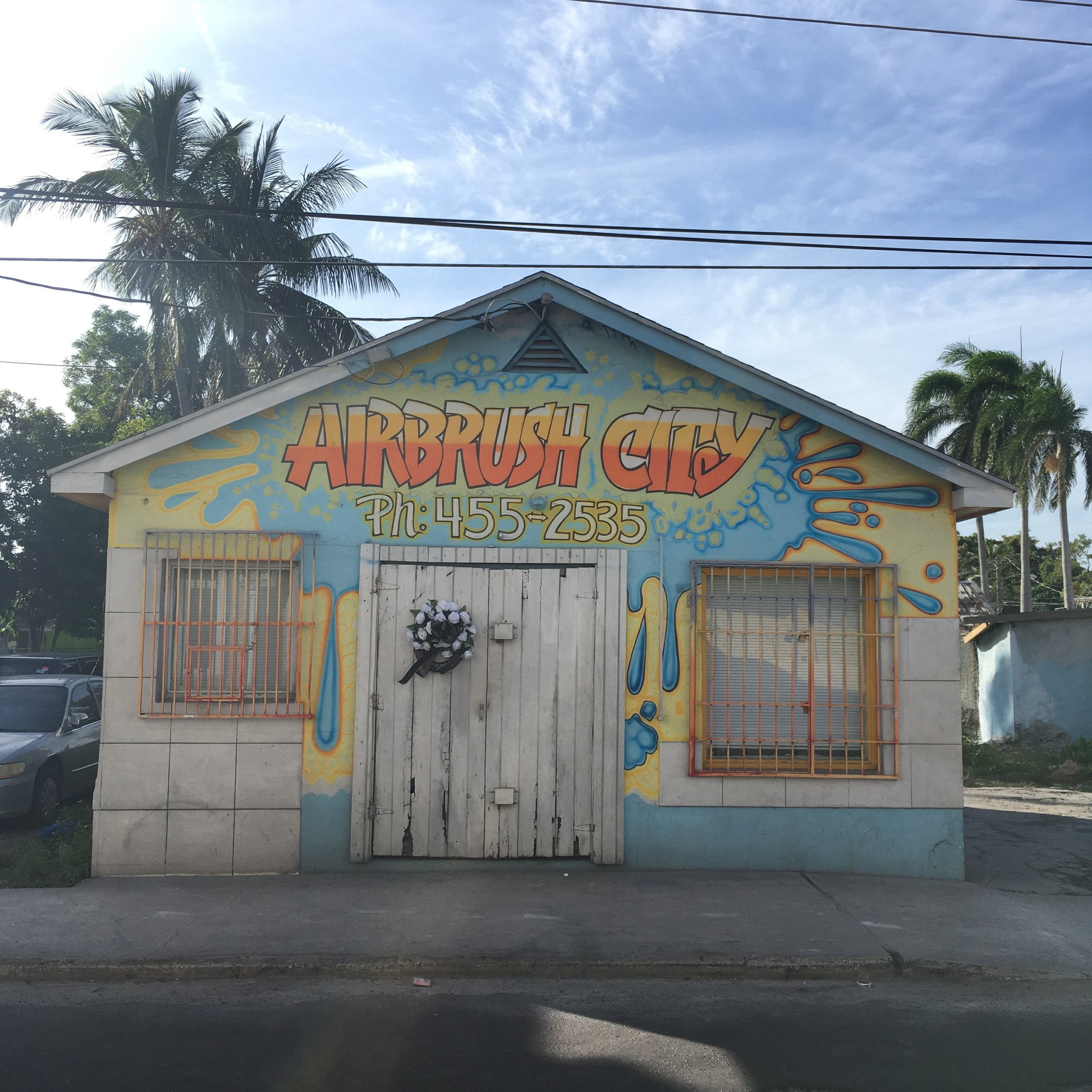 """Slime's place of business, """"Airbrush City"""" on East Street."""