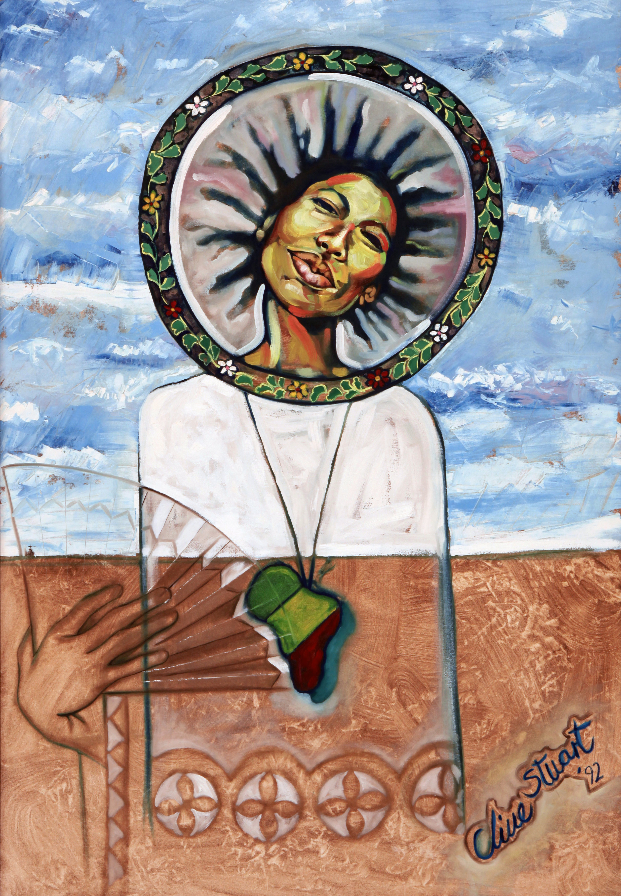 """""""Mother Earth"""" (1992), Clive Stuart, acrylic on plywood, 48 x 43. Part of the D'Aguilar Art Foundation Collection."""