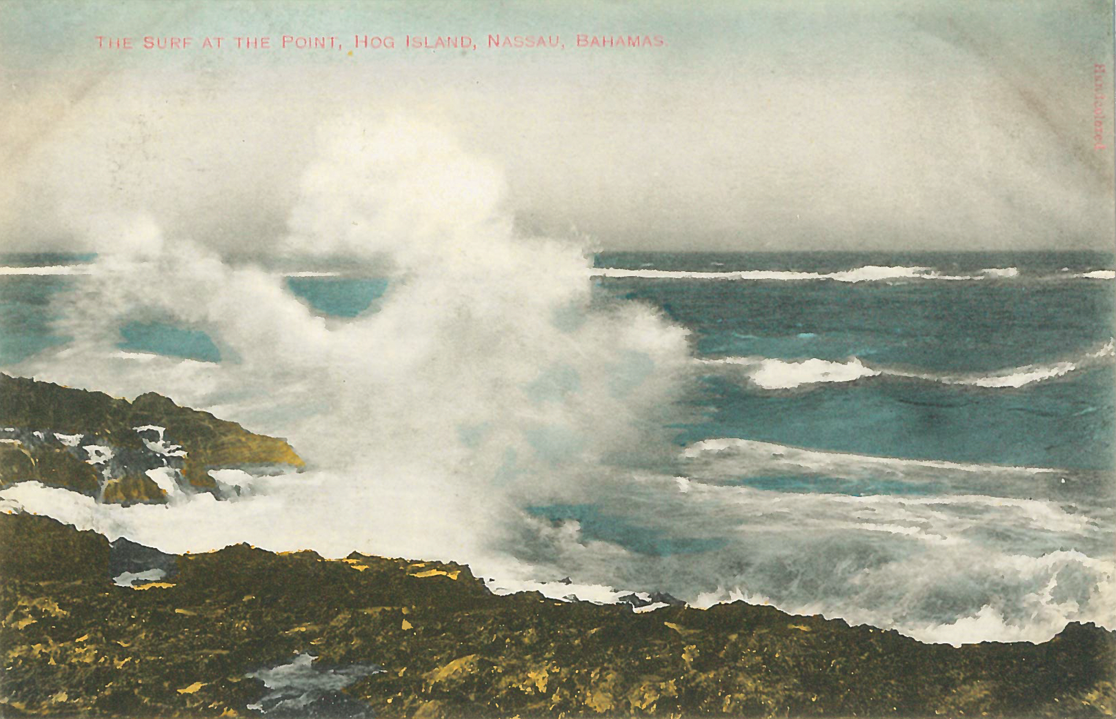 """""""The Surf at the Point - Hog Island"""" (c.1860-1930), hand-coloured postcard, 3 1/2 x 5 1/2. Part of the National Collection."""