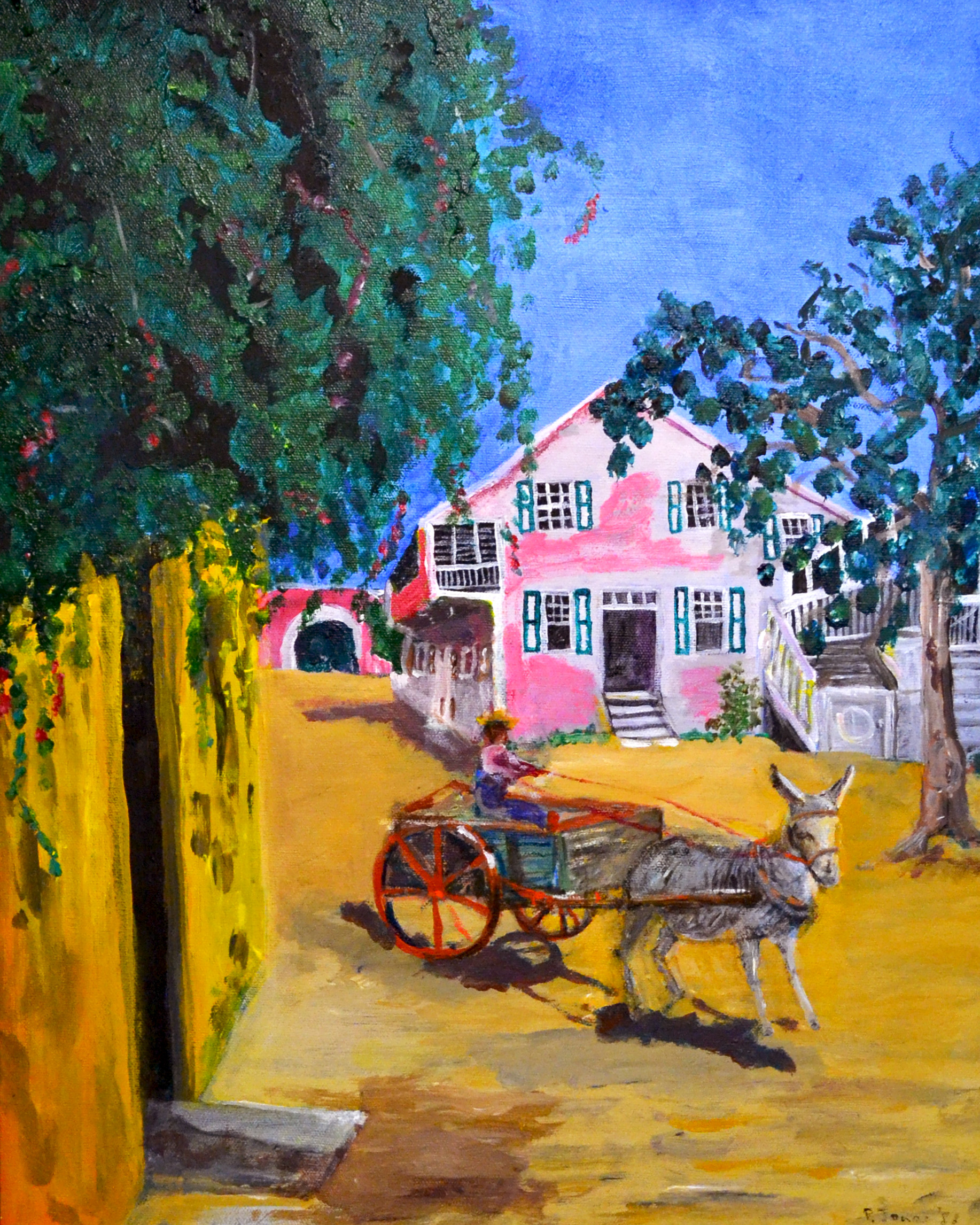 """""""Balcony House - Market Street"""" (1981), Peggy Jones, acrylic on canvas, 13 1/2 x 10 1/2. Collection of the artist. As seen in """"In Retrospect: The Whimsy of Peggy Jones"""" in the Project Space at the NAGB."""