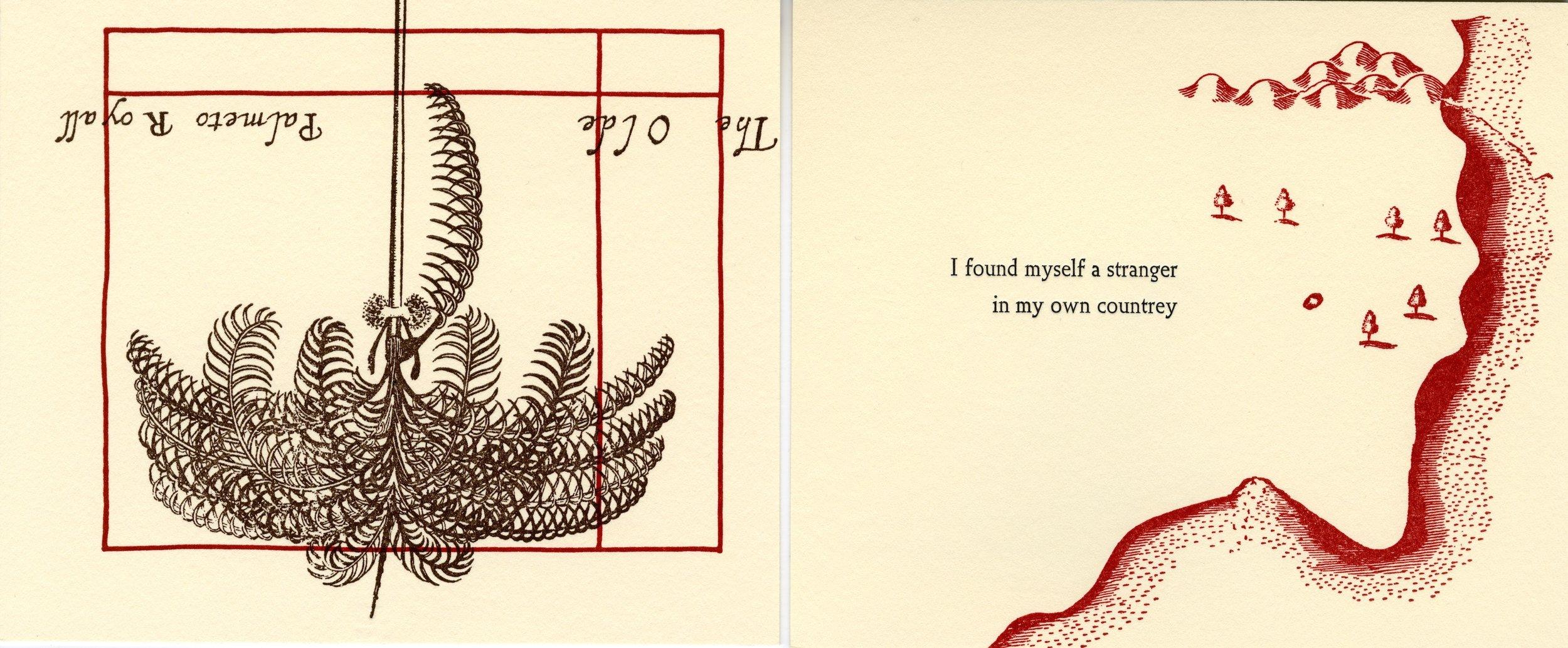 "Letterpress print from ""A True & Exact History"" (2018) by Sonia Farmer."