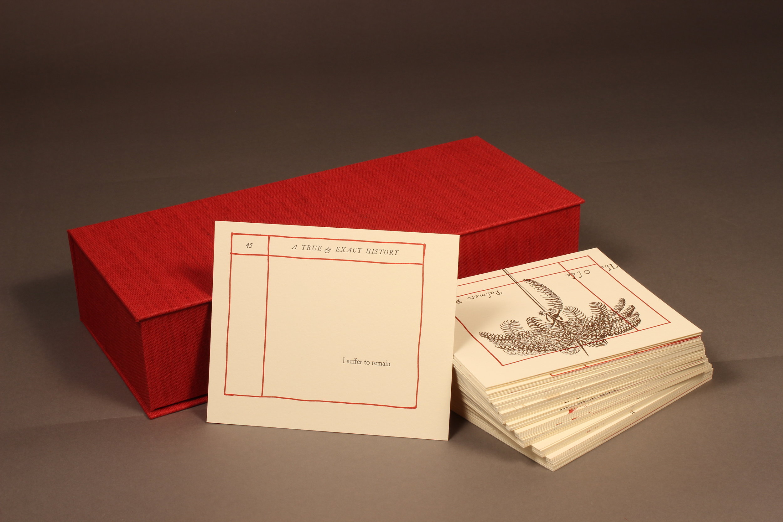 """""""A True & Exact History"""" (2018), Sonia Farmer, letterpress printed book, Erasure of Richard Ligon's """"A True & Exact History of the Island of Barbadoes"""" (1657), letterpress-printed and collected into a handmade clamshell box measured, 5.5"""" x 13"""" (closed box). Edition of 25. Image courtesy of Sonia Farmer."""