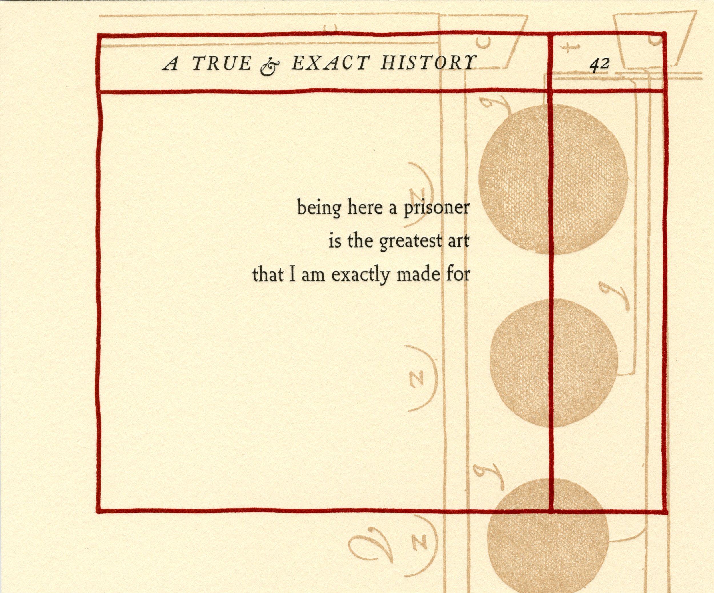 "Letterpress print from Sonia Farmer's artist book, ""A True & Exact History"" (2018)."