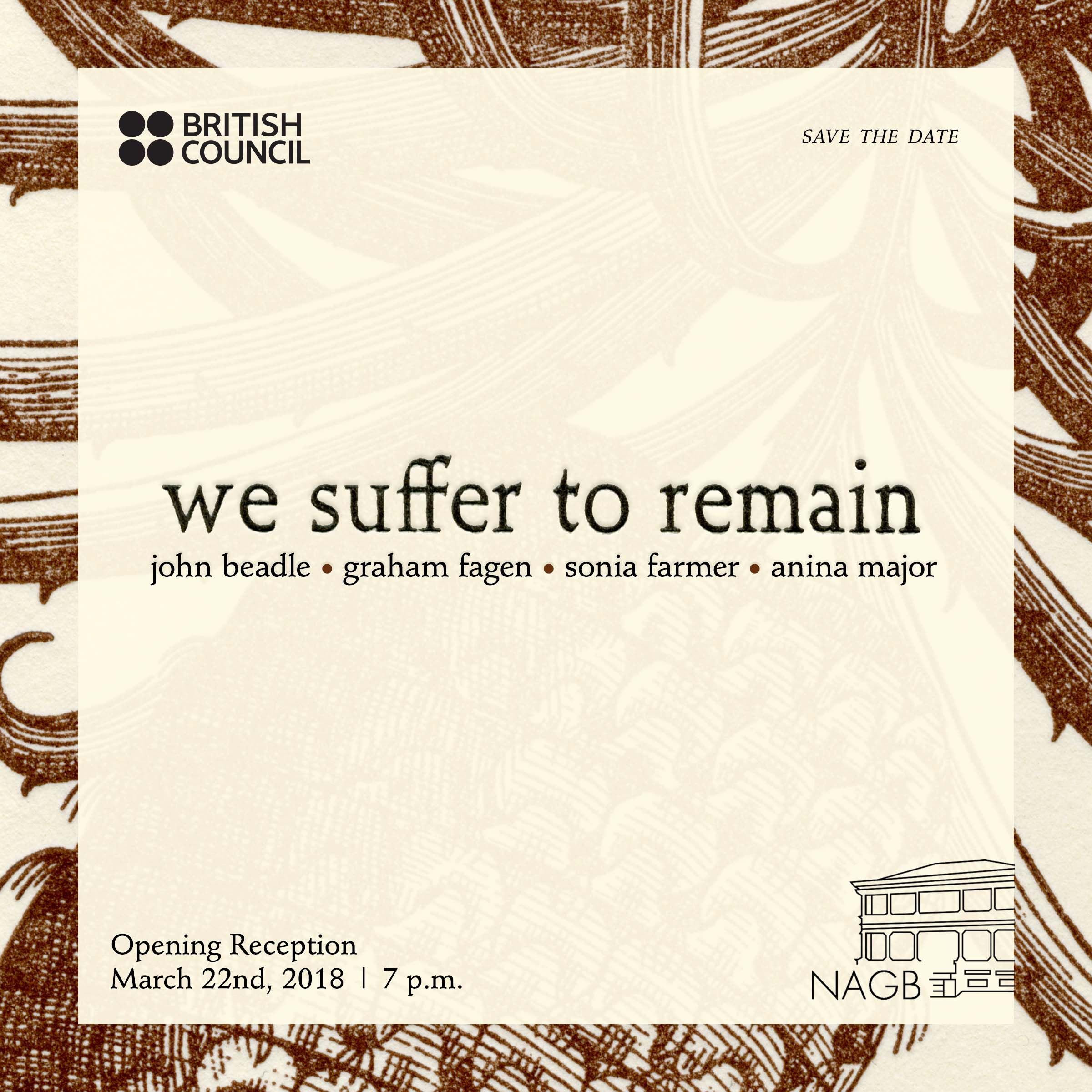 """""""We Suffer to Remain"""" promotional graphic. All images courtesy the NAGB."""