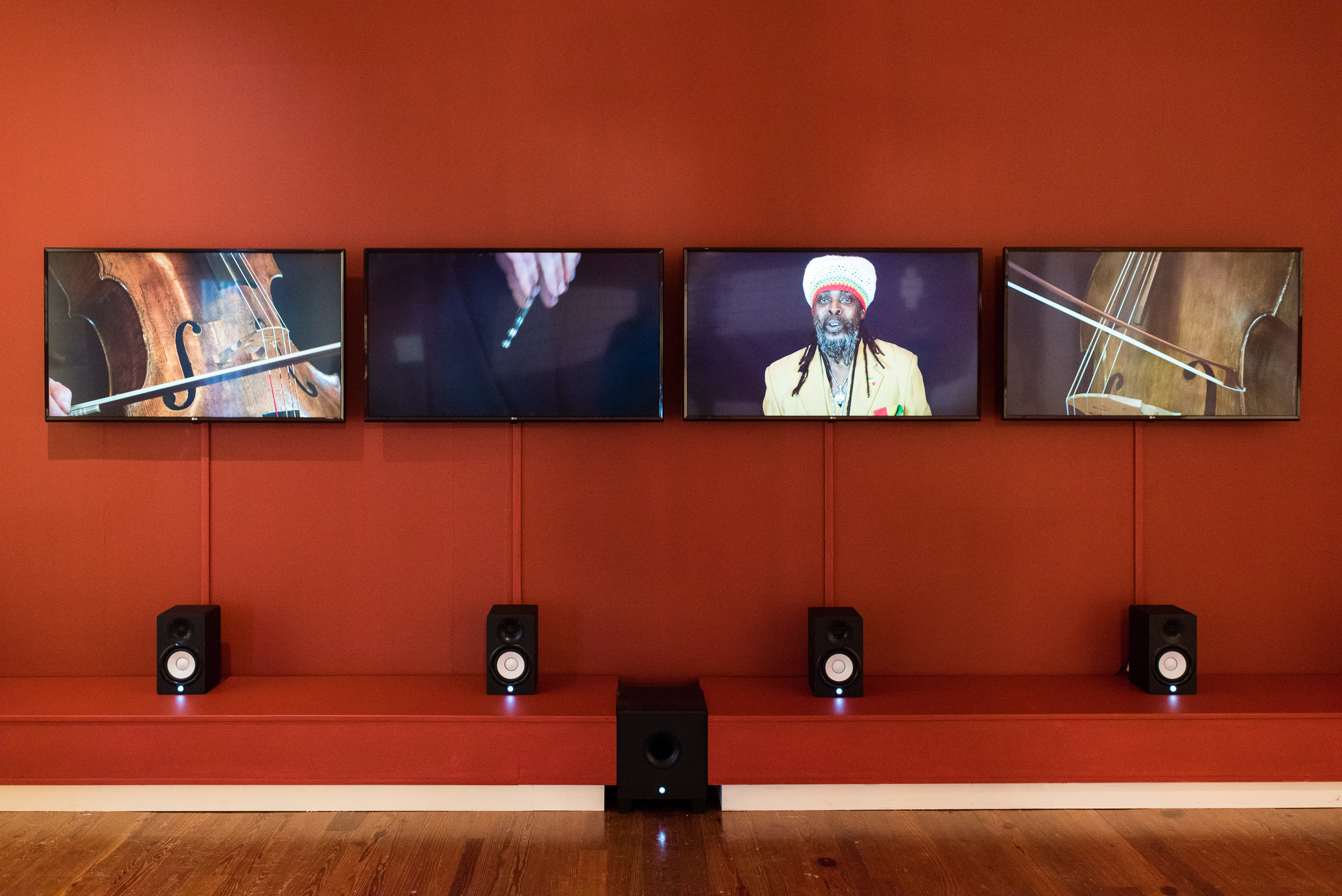 """Installation shot of """"The Slave's Lament"""" (2015) by Scottish artist Graham Fagen, part of """"We Suffer To Remain"""", a collaborative exhibition with the British Council."""