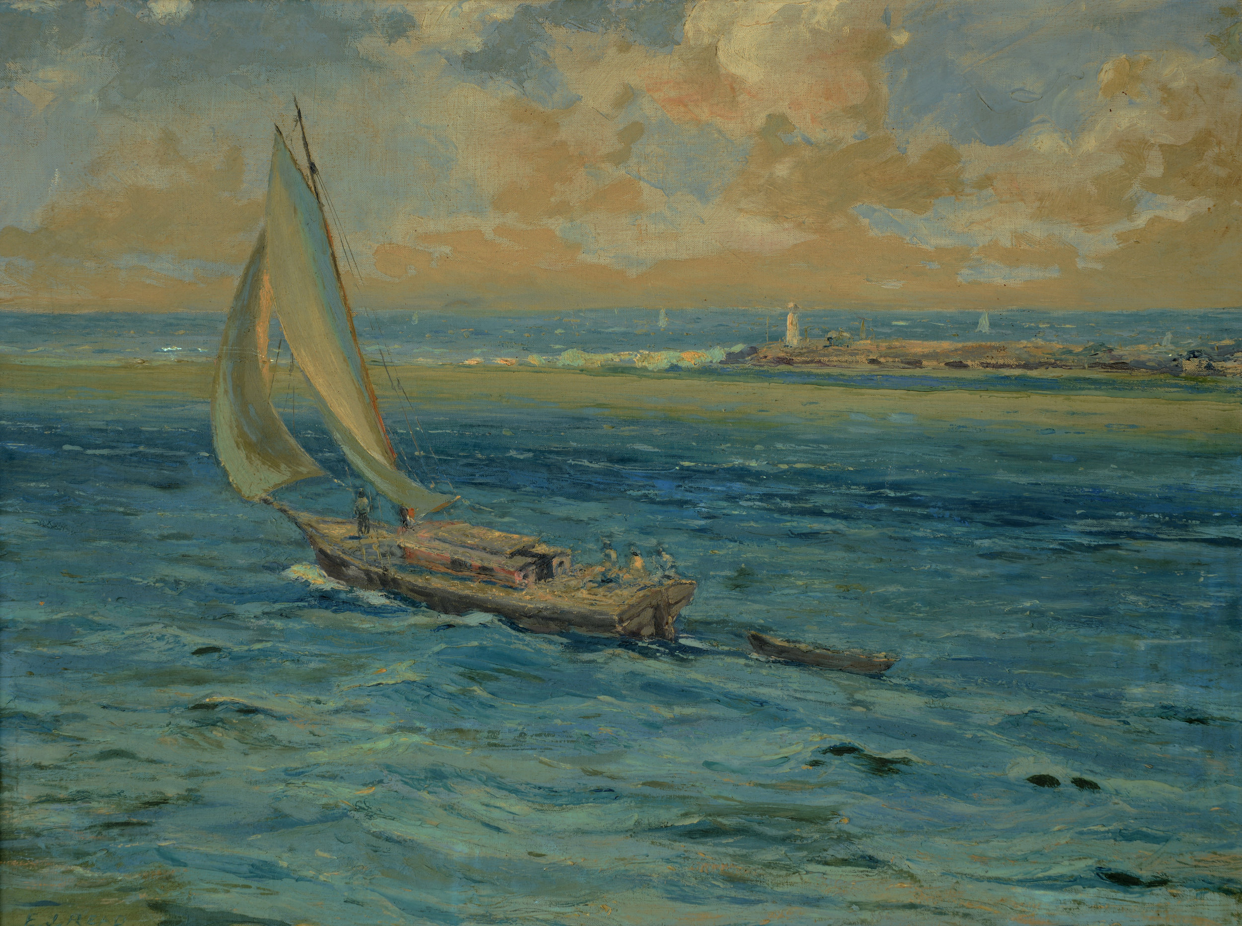 """""""Out to sea"""" (nd). E. J. Read, oil on canvas, 20 ½ x 27. Image courtesy of the Dawn Davies Collection"""