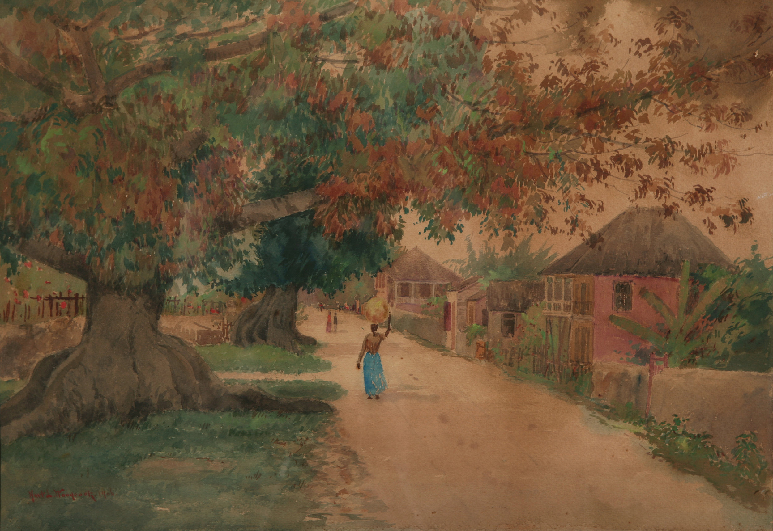 """Silk Cotton Tree, Grants Town"""" (1906). Harwell Leon Woodcock, watercolour on paper, 10 x 14. Image courtesy of the Dawn Davies Collection"""