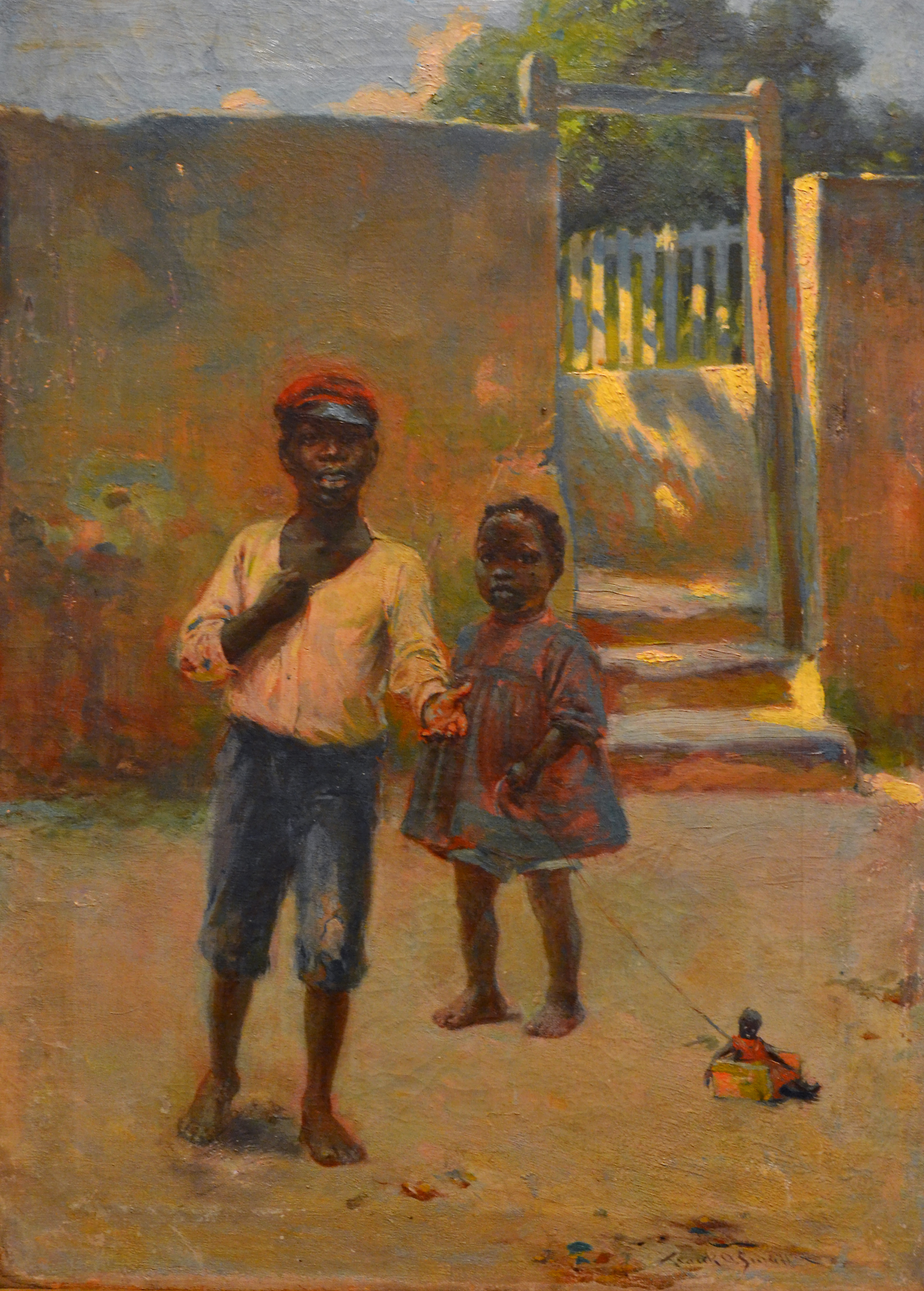 """""""Young Children"""" (nd), Frank Otis Small, oil on canvas, 21 ½ x 15 ¼ . In the collection of Peter and Pippa Vlasov and currently on display at the NAGB in """"Traversing the Picturesque""""."""