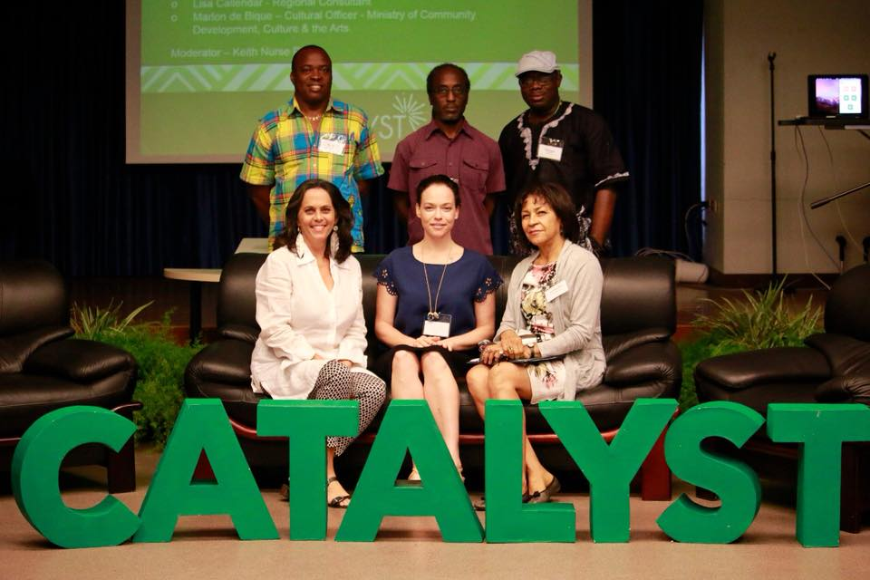 CATALYST participants, top row:  Marcel Pinas  from  Tembe Art  Studios in Suriname; Sean Leonard,  Alice Yard , Trinidad;  Marvin George , Jouvay Ayiti, Trinidad/Jamaica; Moderator - Annalee Davis, Barbados;  Holly Bynoe , The National Art Gallery of The Bahamas, The Bahamas and  Marina Salandy-Brown ,  Bocas Lit Fest ival, Trinidad and Toabgo. ROUNDTABLE 1, the conversation with creative practitioners and activists who have shifted the cultural landscape through their work.