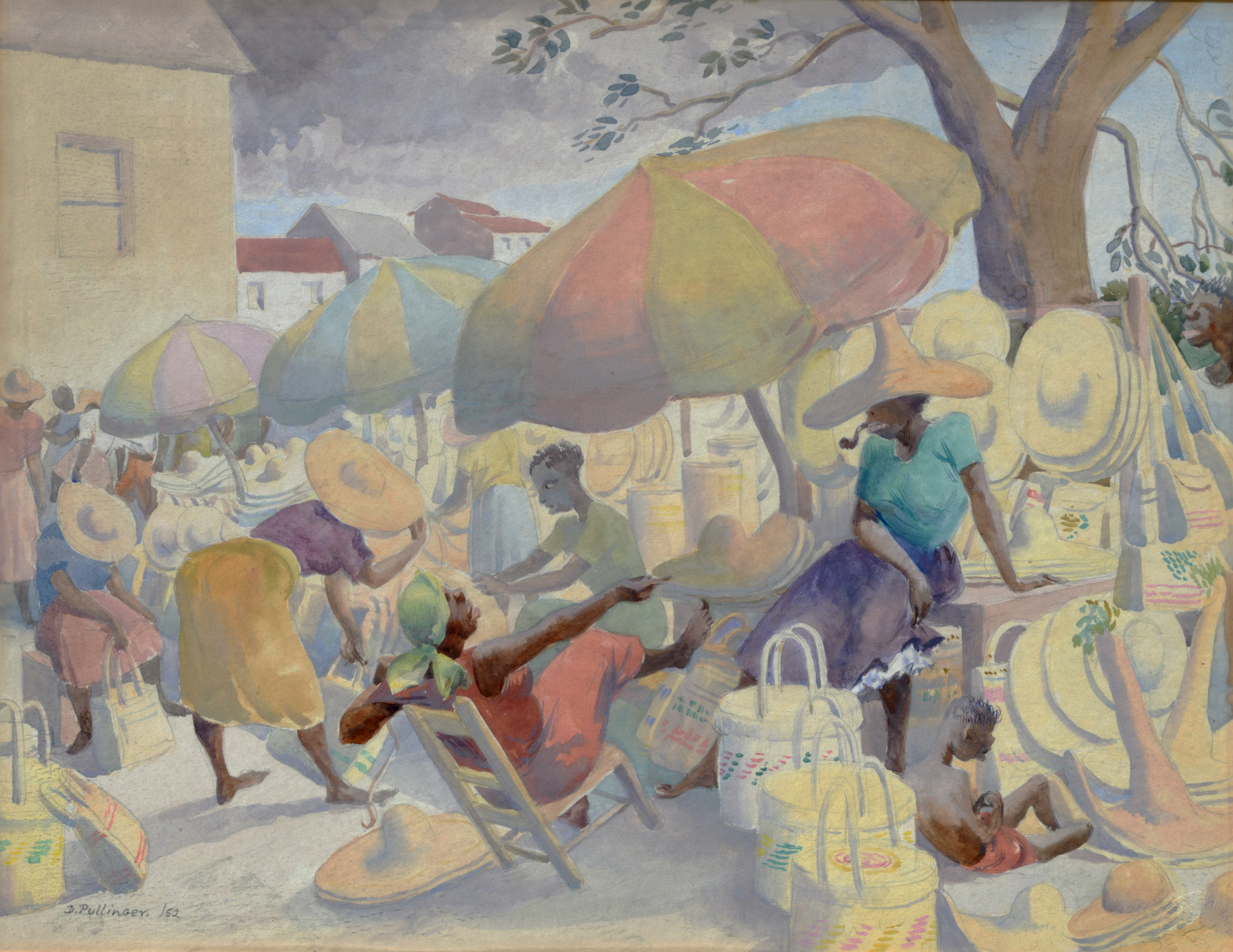 1.     Umbrellas (1952). Diane Pullinger, watercolour on paper, 10 ½  13 1/2. Image courtesy of the Dawn Davies Collection.