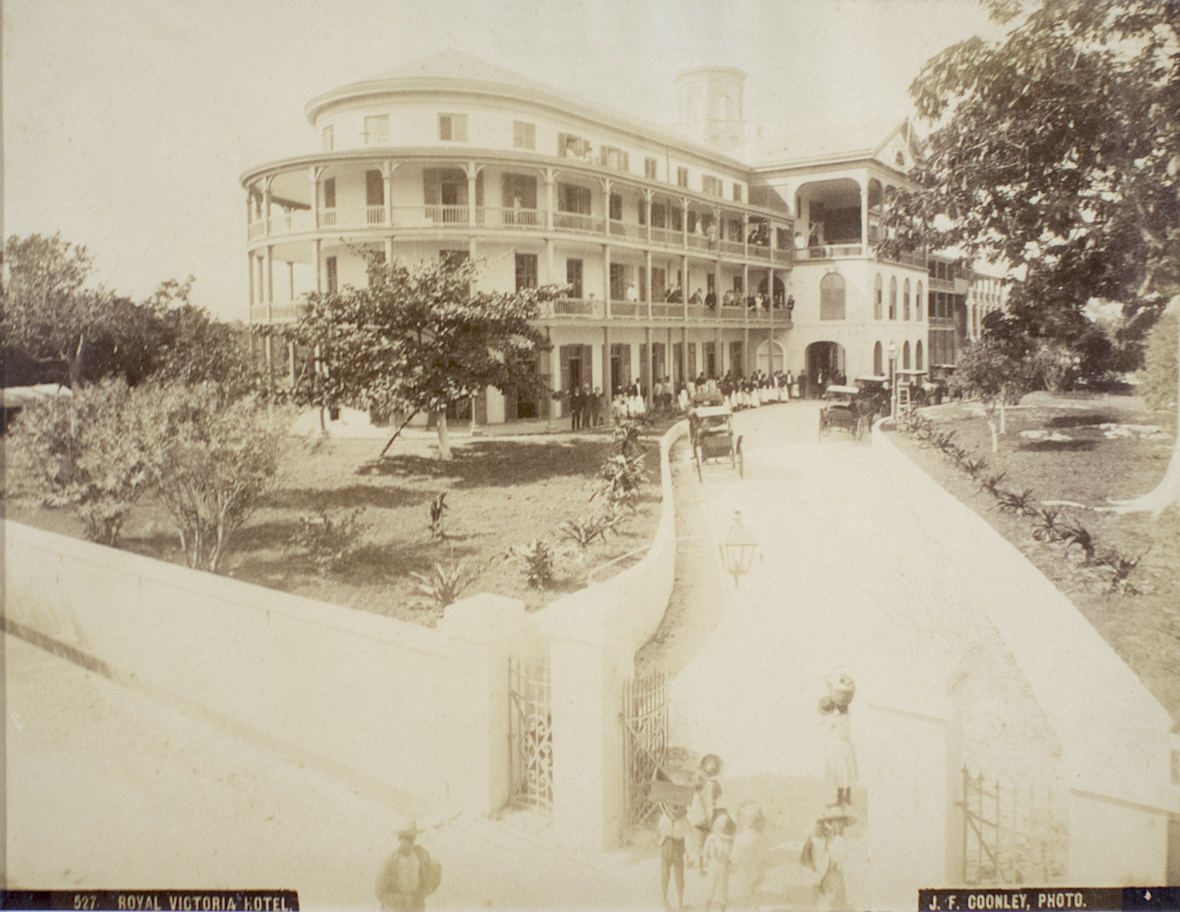 """""""Royal Victoria Hotel"""" (c 1857 - 1904). Jacob Frank Coonley, albumen print, 7 x 8. Image courtesy of the National Collection."""