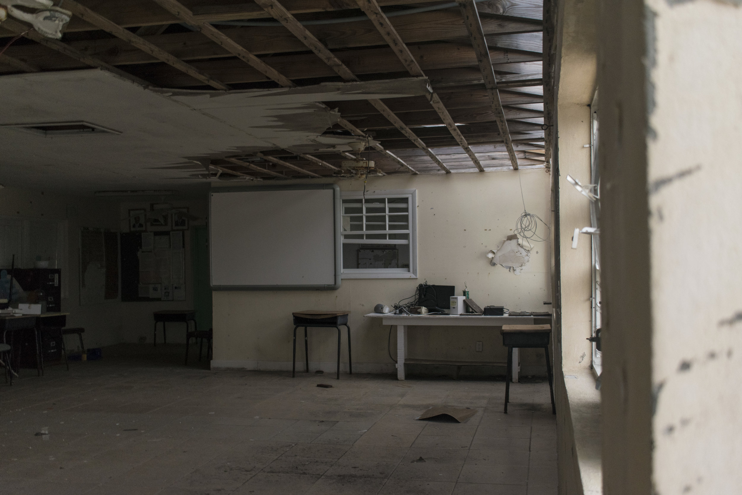 Interior of Ragged Island All Age School, July 2018. Photo by Ethan Knowles.