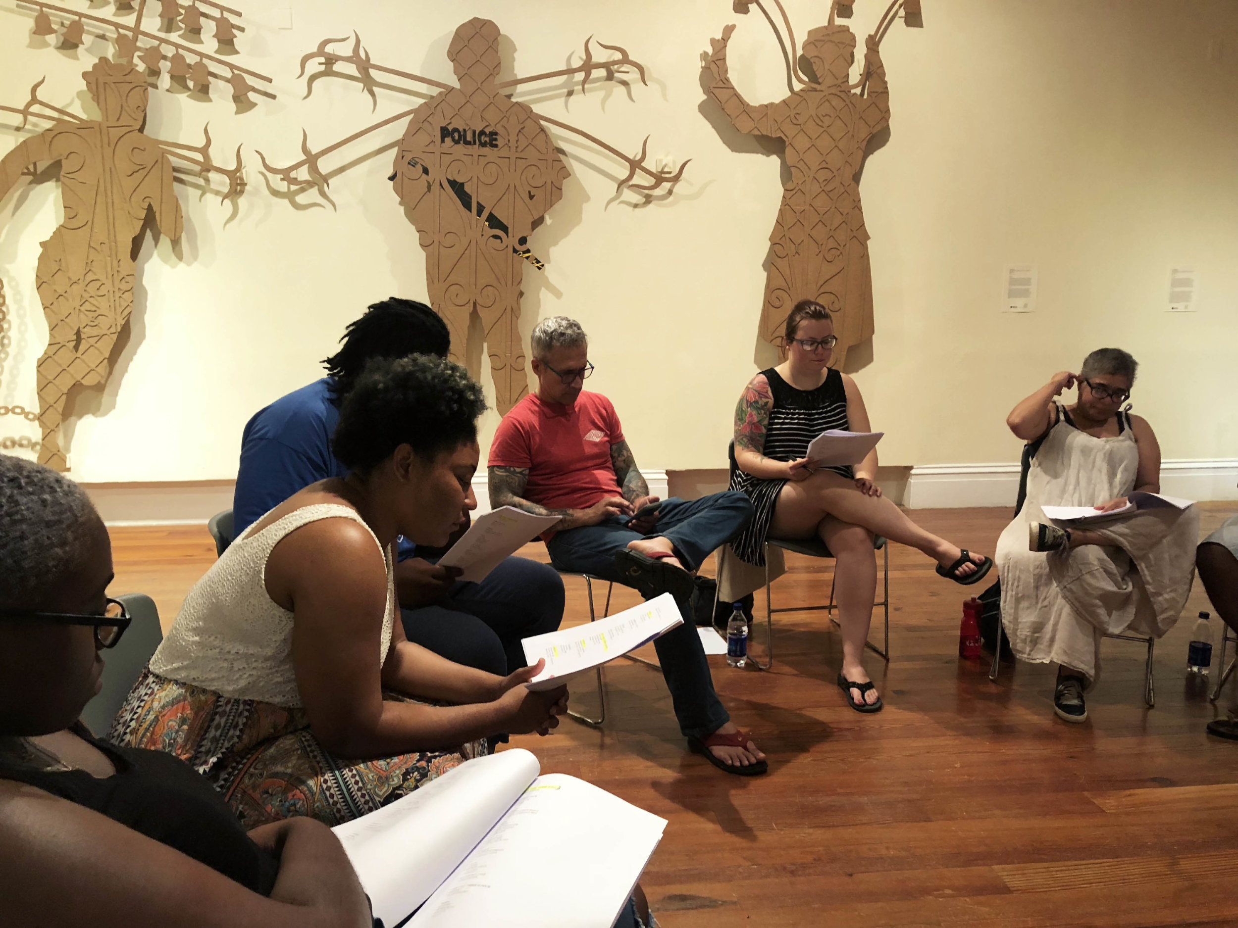 "The group of readers and performers practicing for the performance of ""A True and Exact History"" for Sunday, July 29th at 4:00pm."