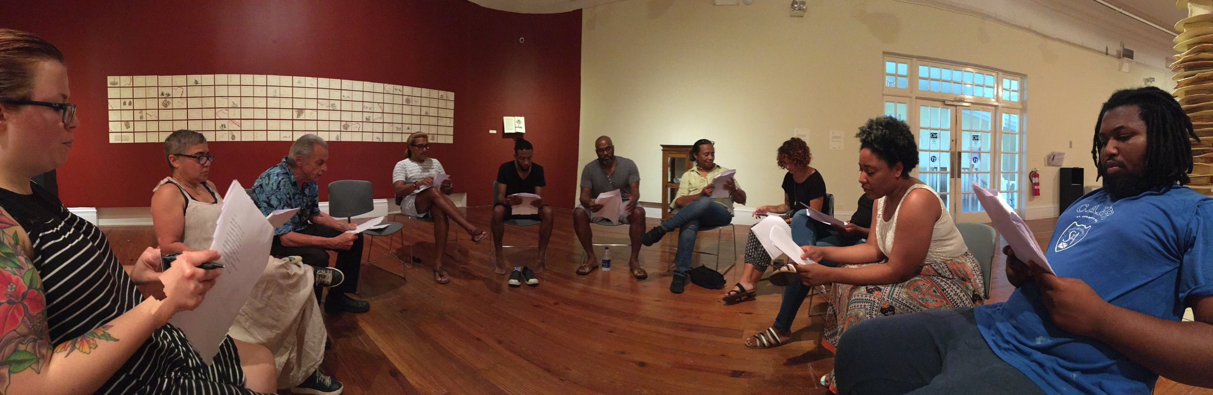 "Rehearsals for the reading of ""A True and Exact History"" featuring the entire cast of speakers."