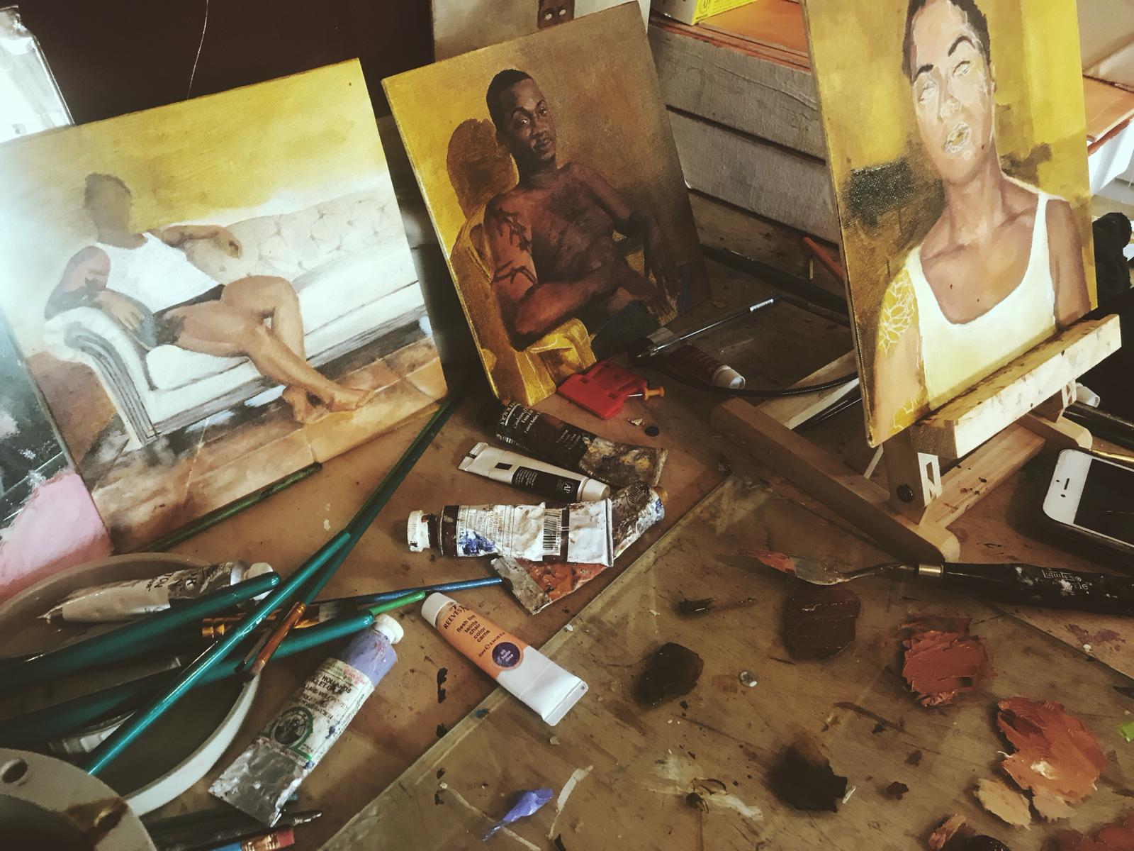 """Jodi Minnis' studio with works in progress for """"Intimacy"""" at the Central Bank of The Bahamas."""