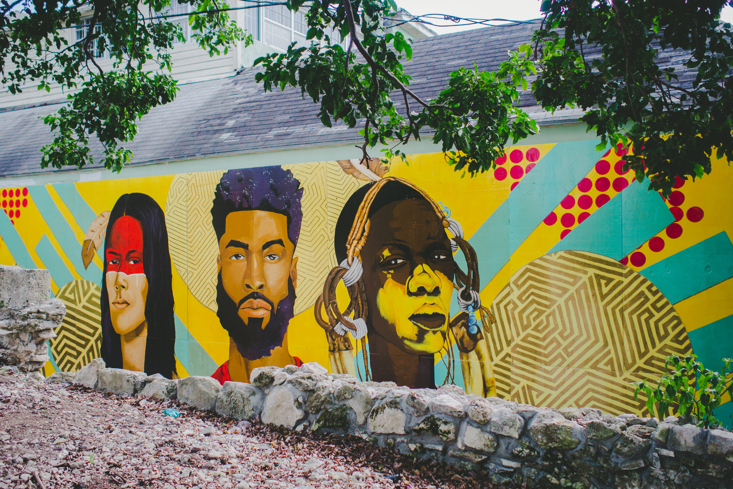 """1. """"Legacy"""" (2018) public mural by Darchell Henderson on Hospital Lane in Nassau, New Providence."""