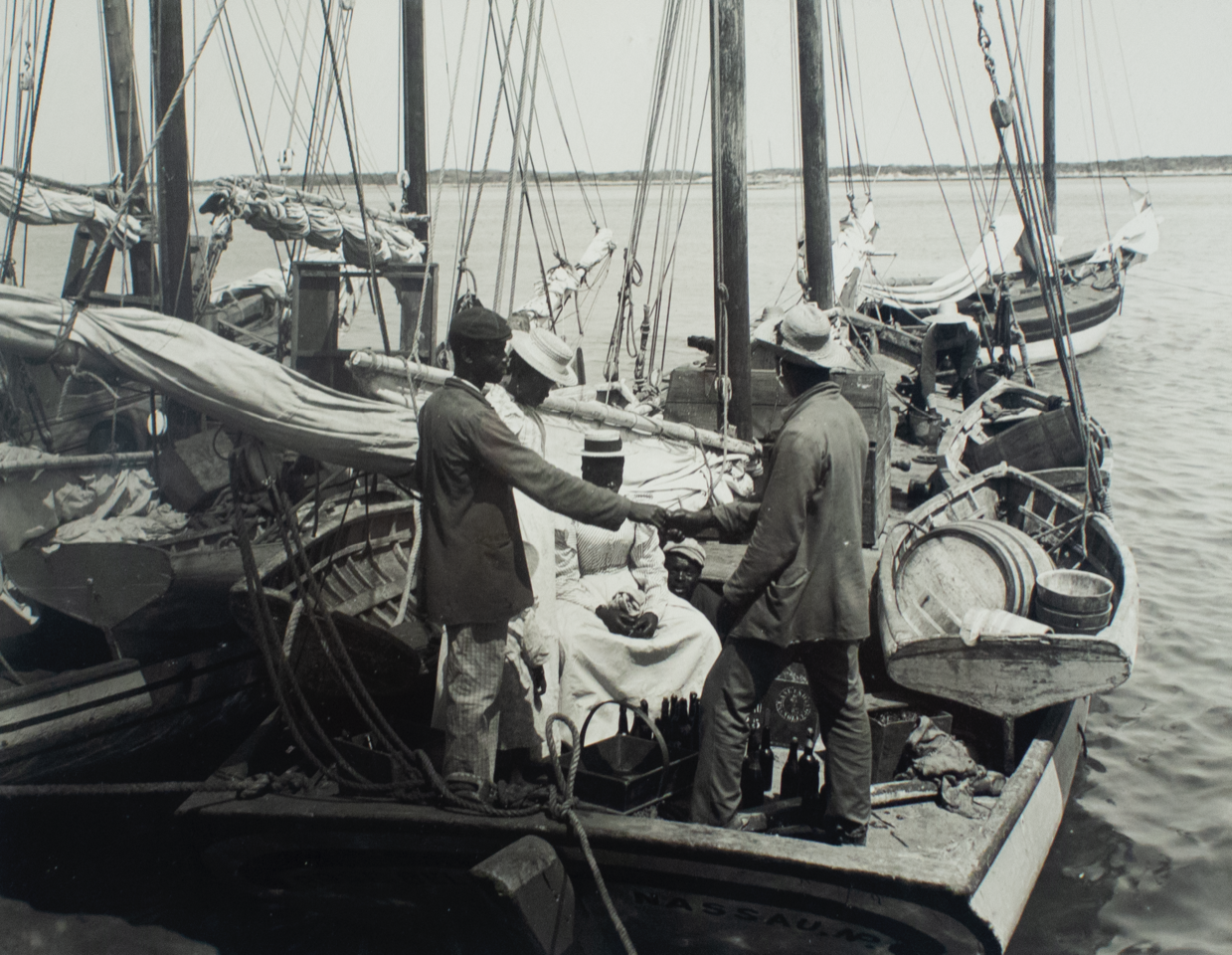 """Untitled (Boat Scene)"" (c.1920), James O. ""Doc"" Sands, digital print on archival paper, 11 x 14. Part of the National Collection and currently on display in ""Hard Mouth: From the Tongue of the Ocean""."