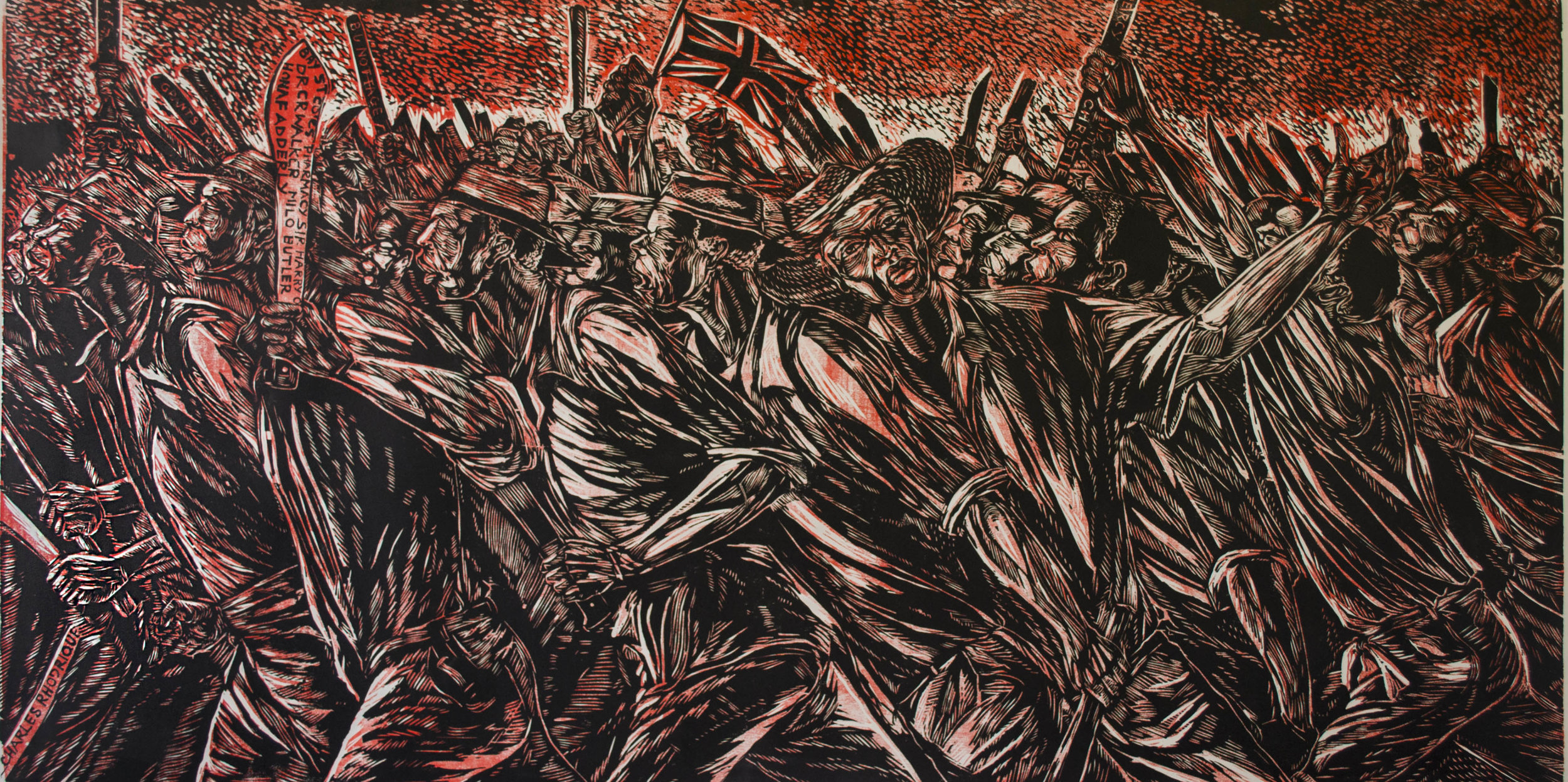 """""""Burma Road"""" (c 2008), Maxwell Taylor, woodcut print on paper, 36 x 72½. Part of the D'Aguilar Art Foundation Collection."""