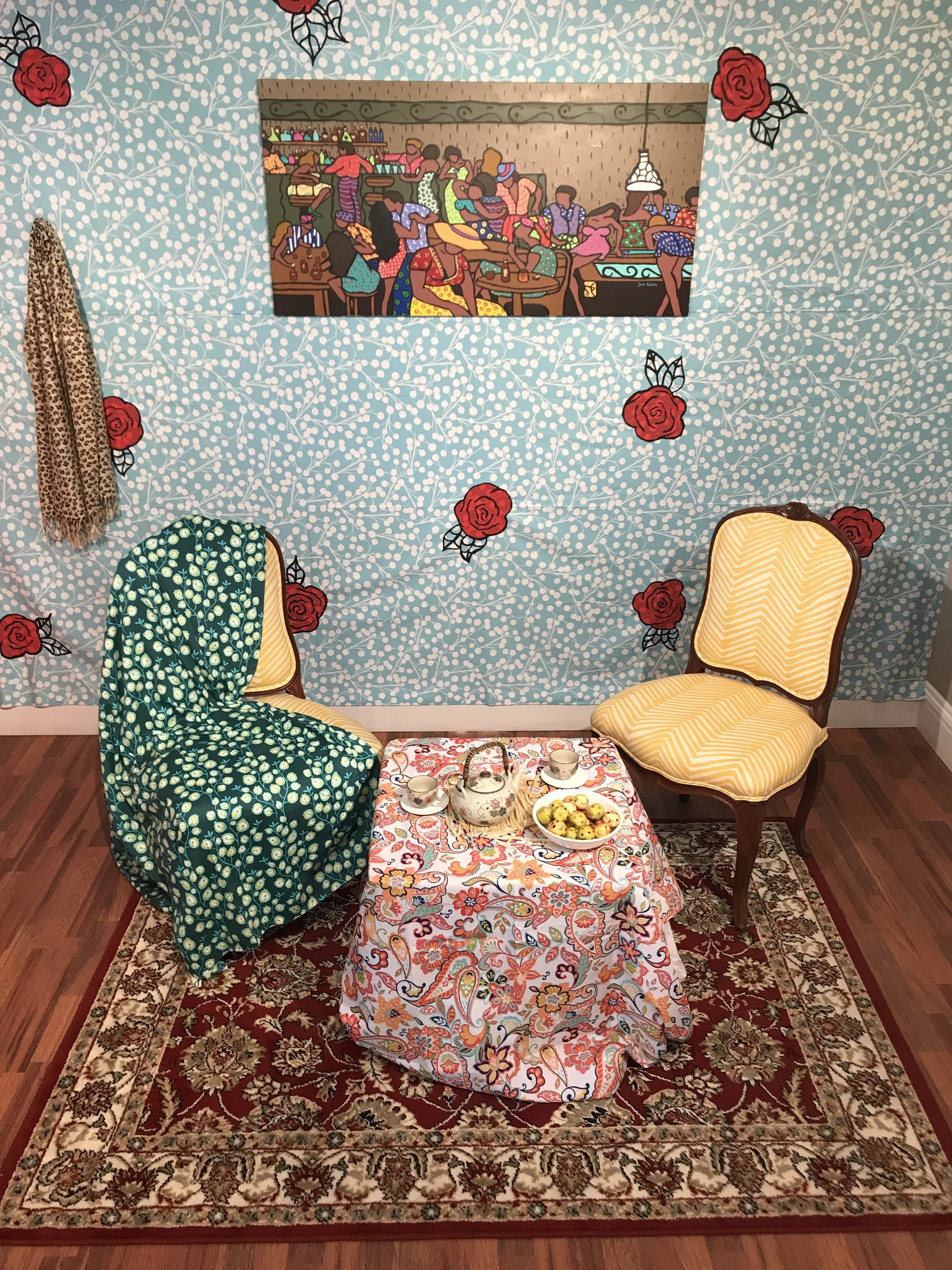 June Collie.  Dollhouse,  Fabrics and Mixed Media. 2018. Created for the D'Aguilar Art Foundation's interactive exhibition,  pARTicipate!.  Image courtesy of Tessa Whitehead. Works courtesy of the artist.